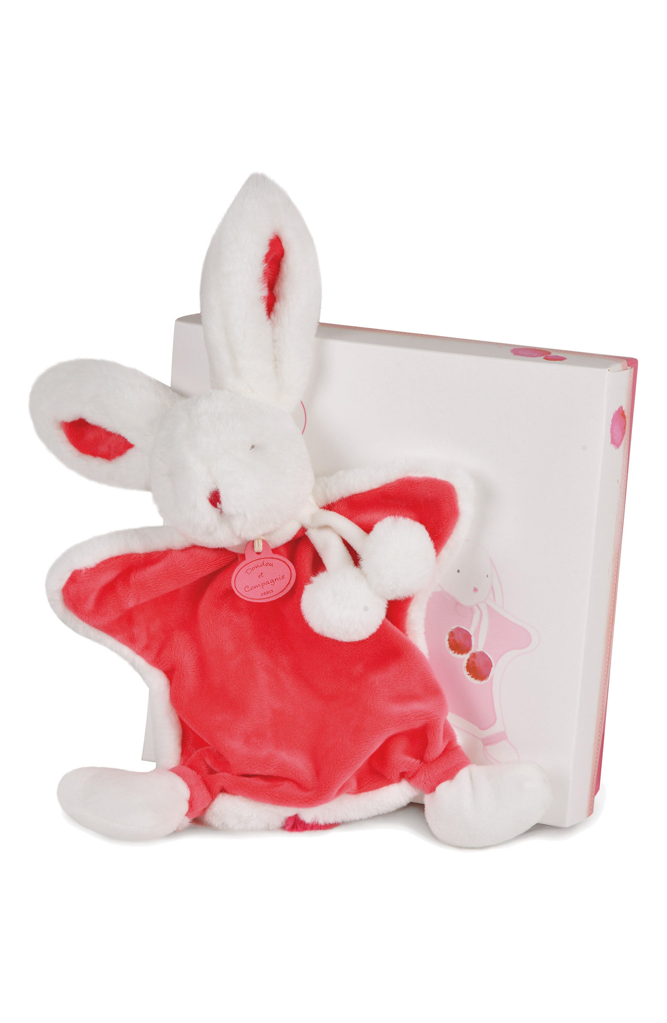 Alternate Image 3  - Doudou et Compagnie Strawberry Pink Bunny Rattle & Lovie Blanket Gift Set (Baby)
