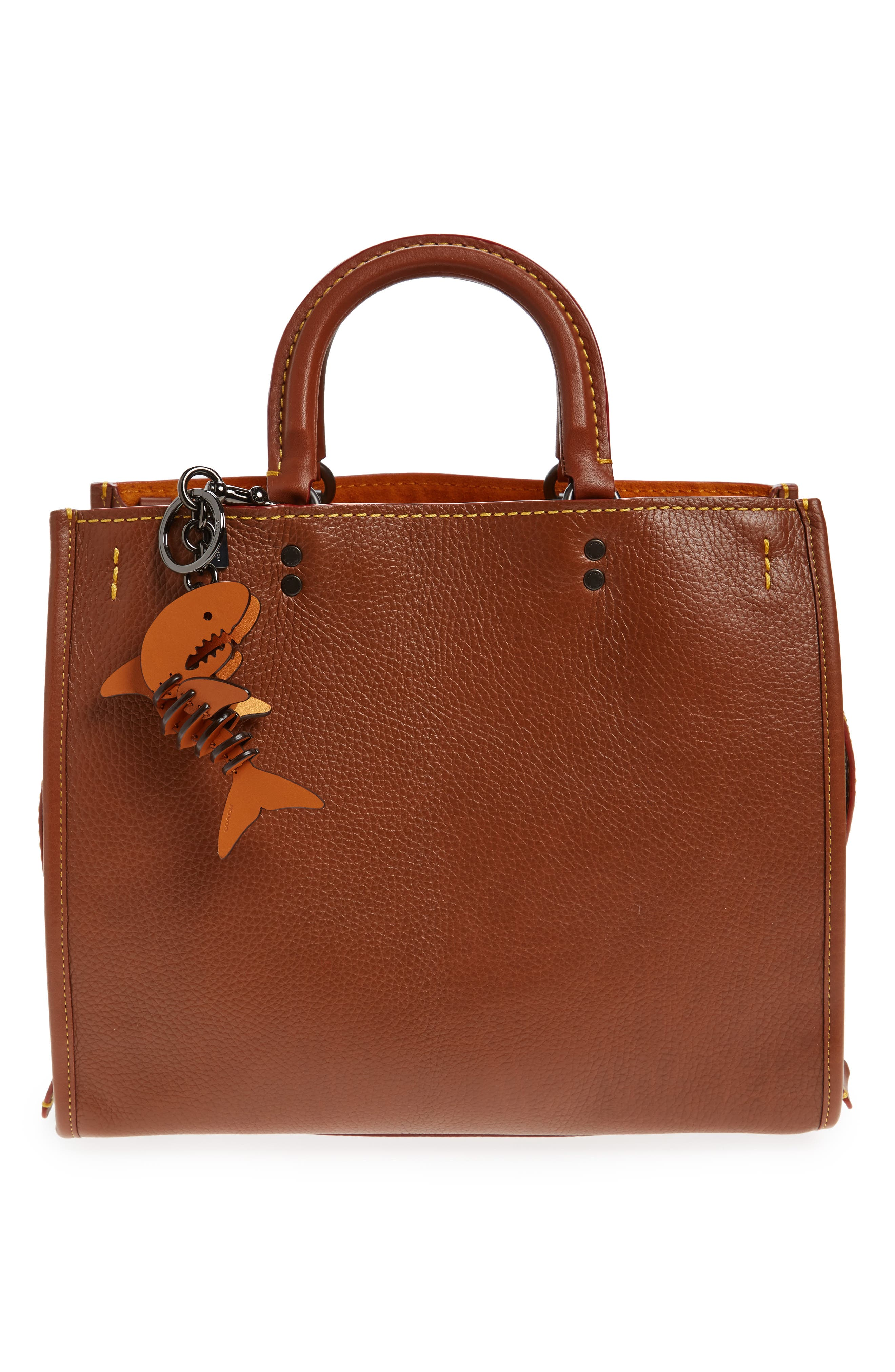 Small Sharky Leather Bag Charm,                             Alternate thumbnail 2, color,                             Gifting Orange