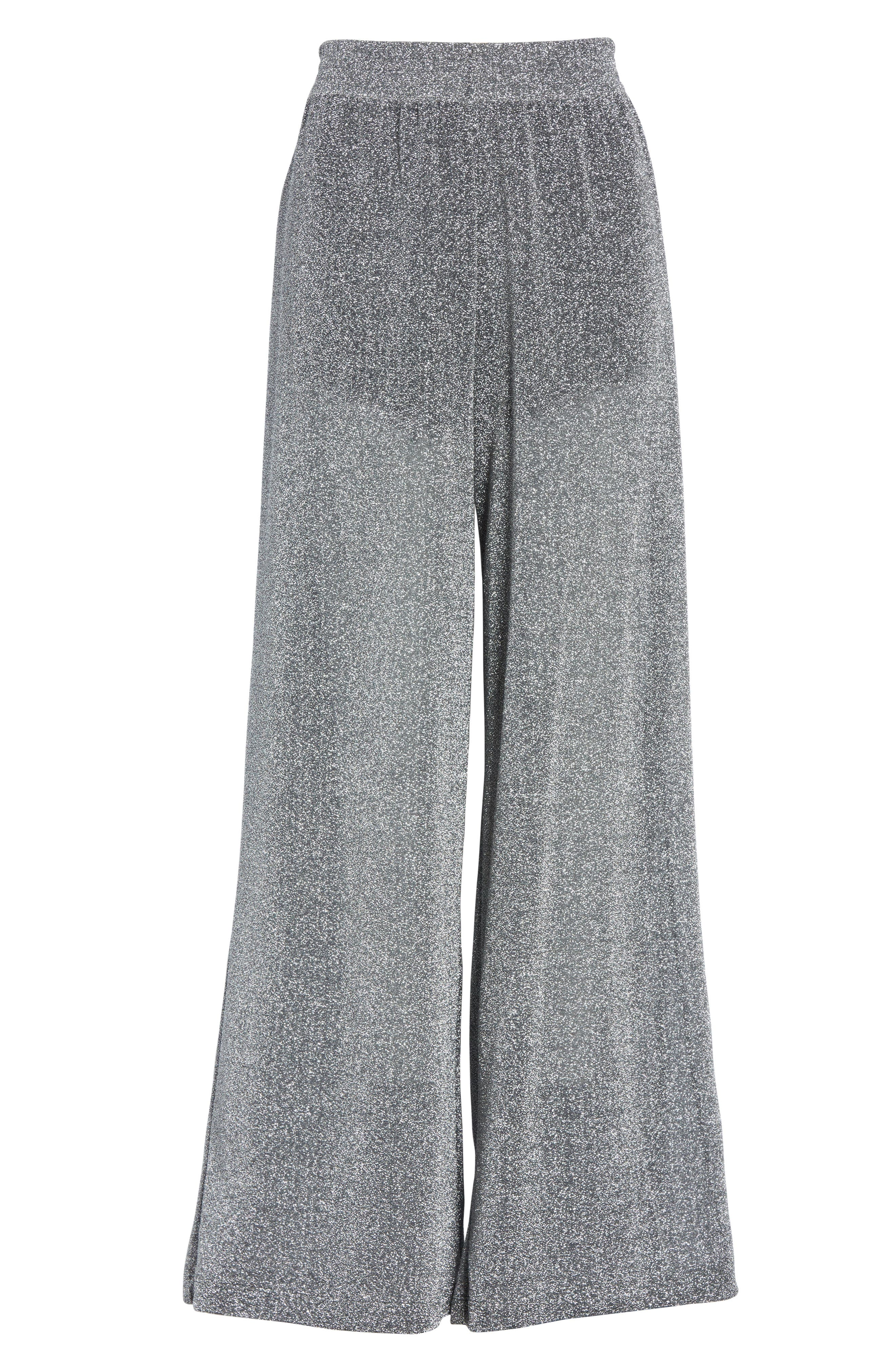 Metallic Jersey Wide Leg Pants,                             Alternate thumbnail 7, color,                             Grey