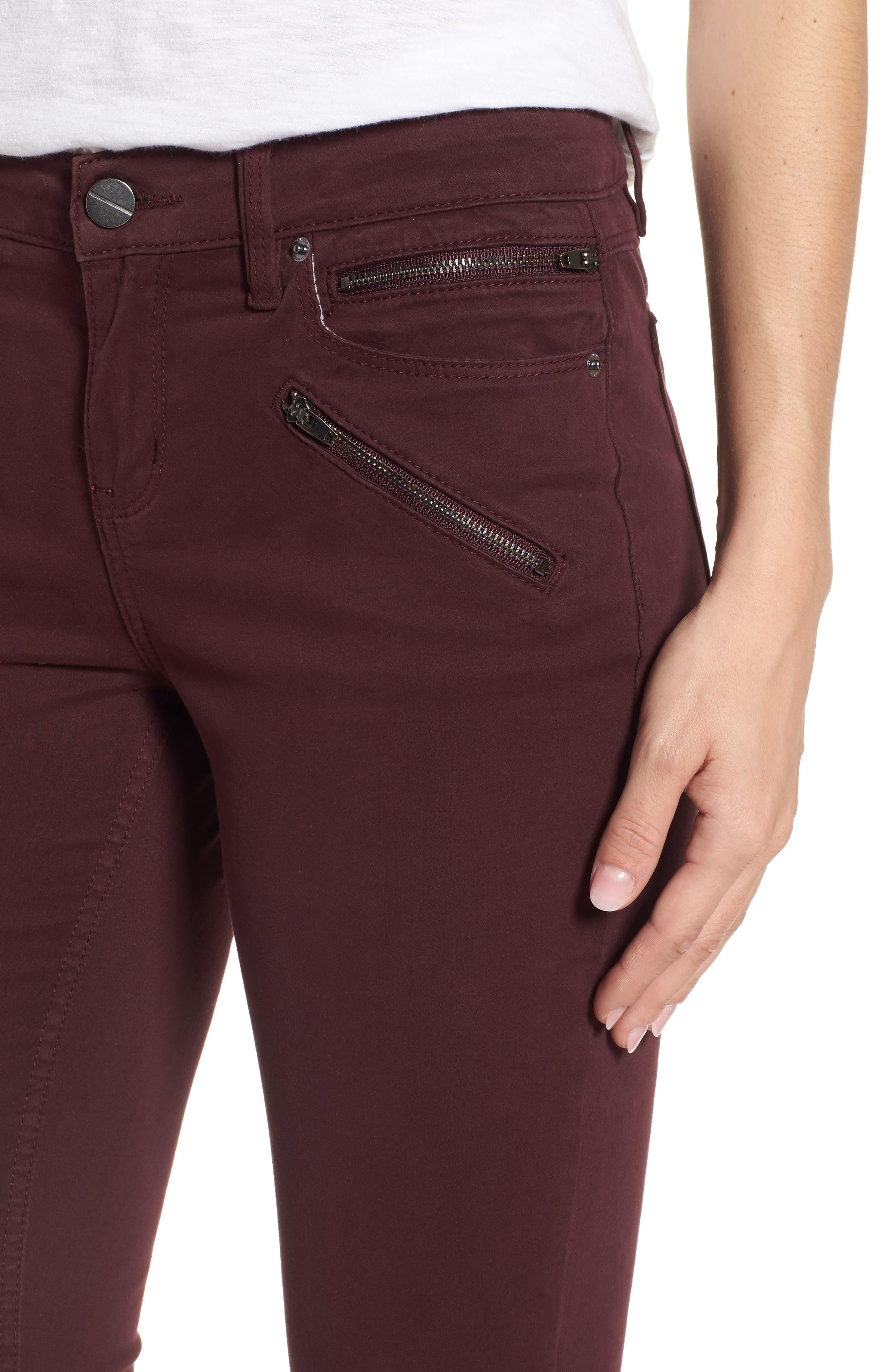 Moto Skinny Jeans,                             Alternate thumbnail 4, color,                             Port