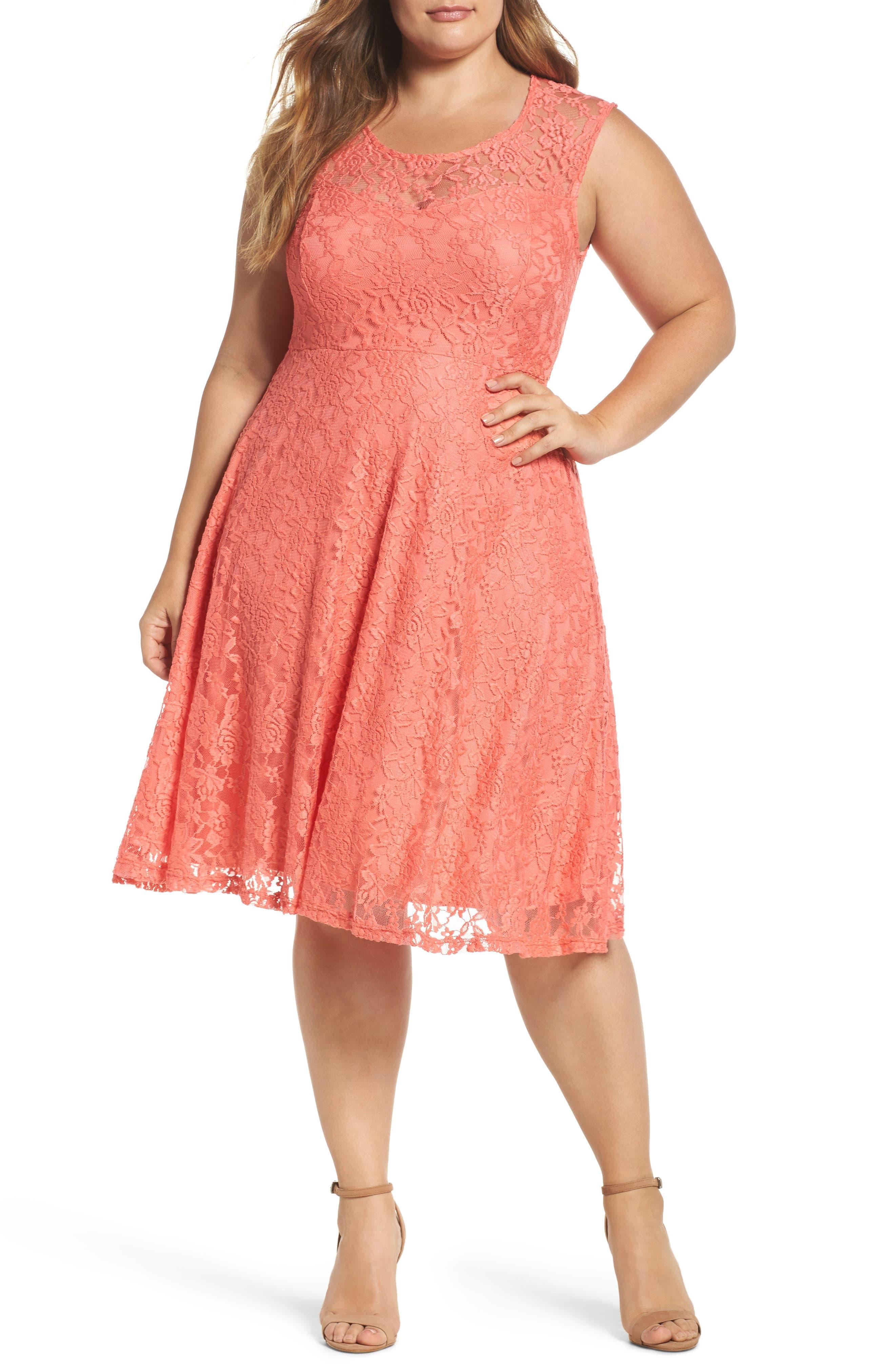 Lace Skater Dress,                             Main thumbnail 1, color,                             Coral