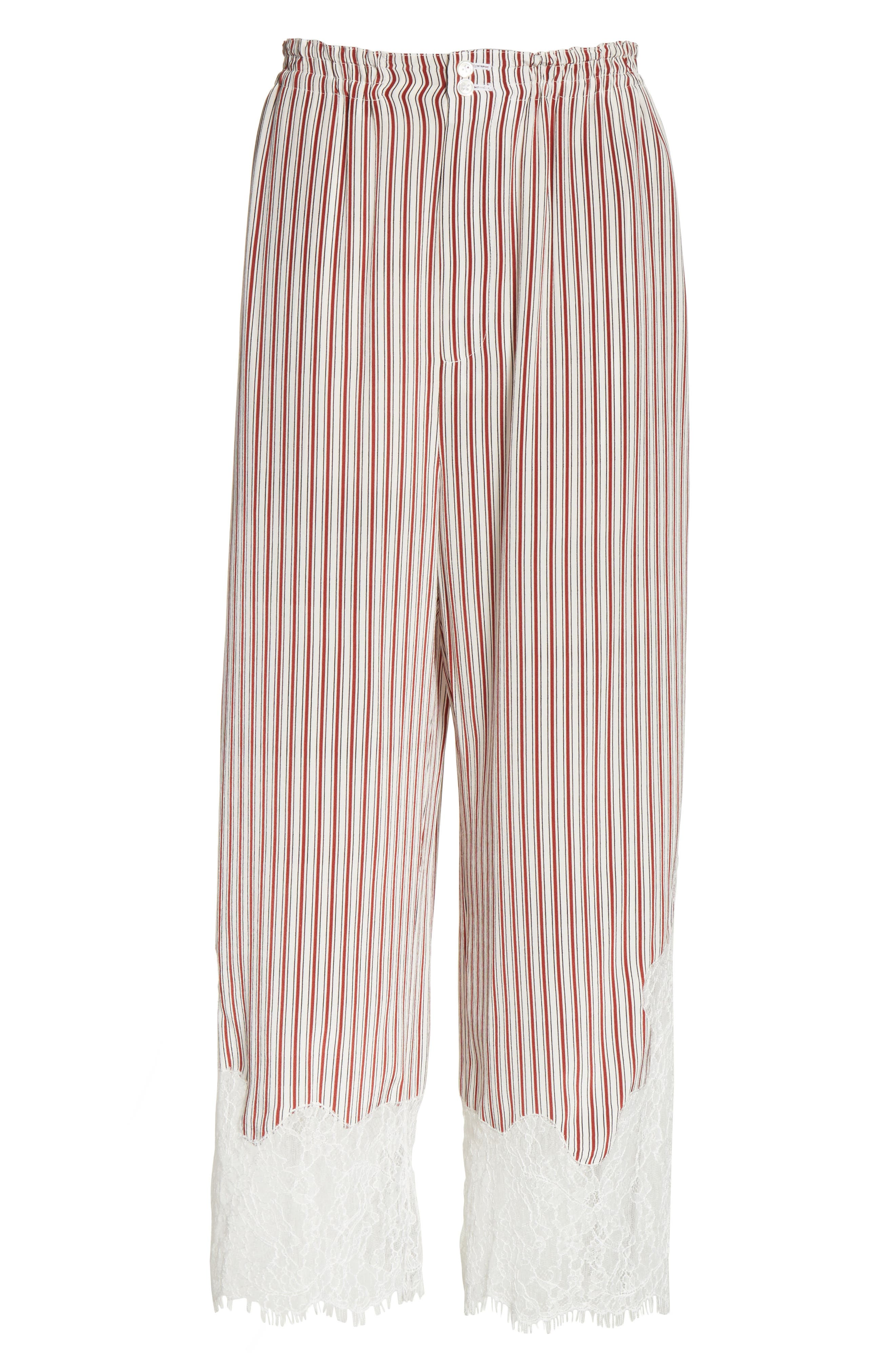 Lace Hem Stripe Pants,                             Alternate thumbnail 6, color,                             Crimson Barcode