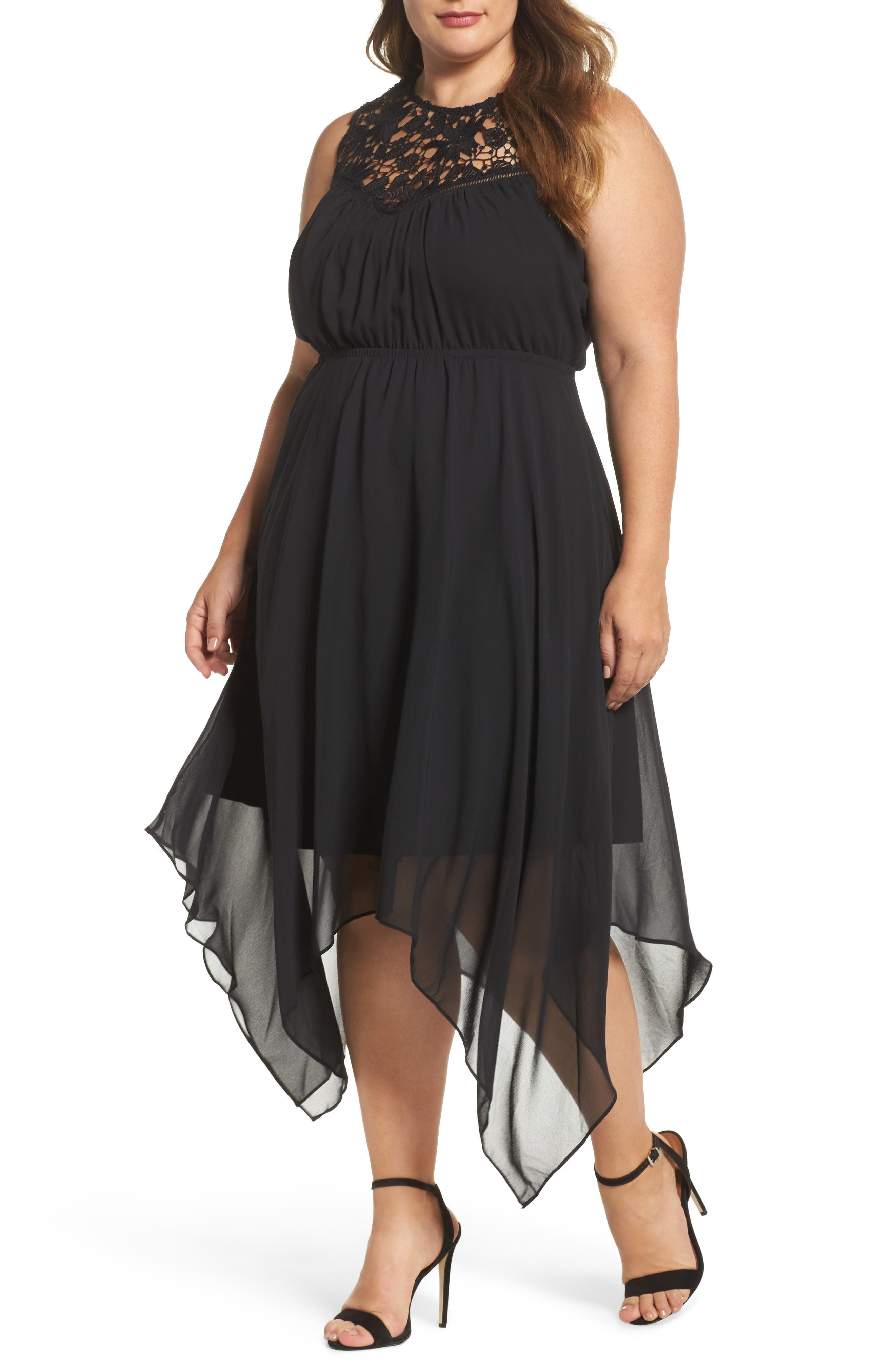 Handkerchief Hem Dress,                         Main,                         color, Black