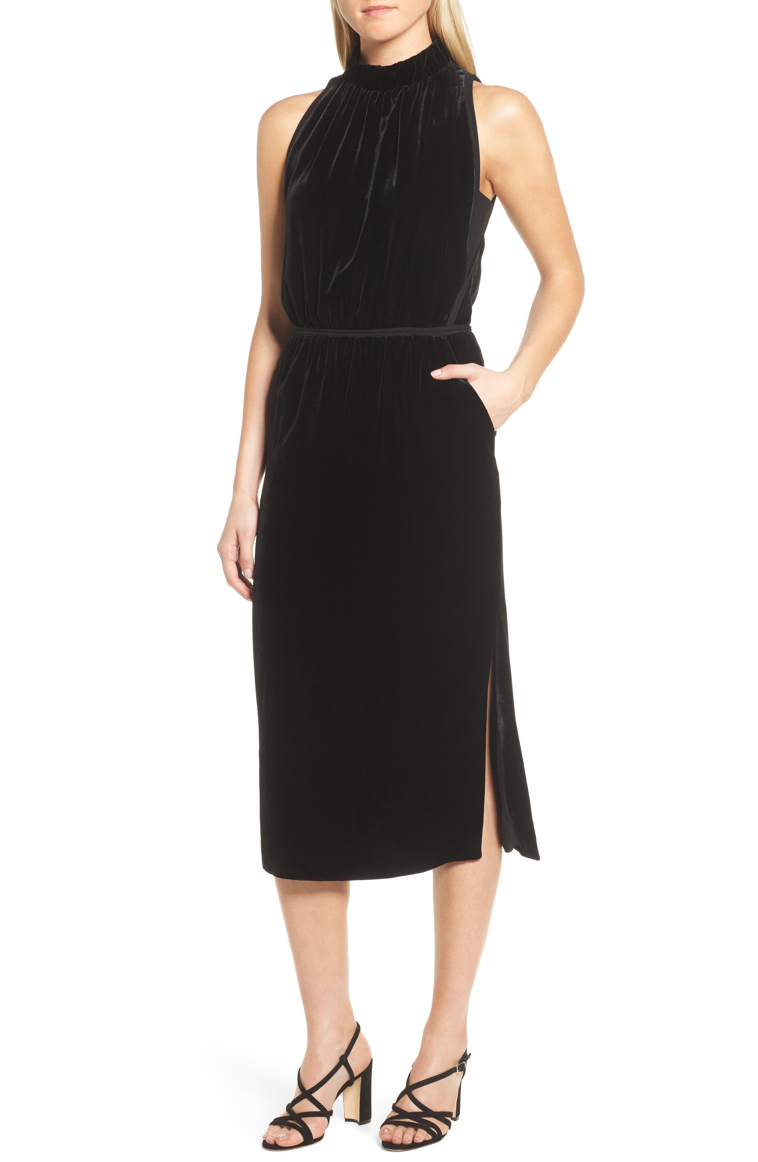 Difosia Velvet Midi Dress,                             Main thumbnail 1, color,                             Black