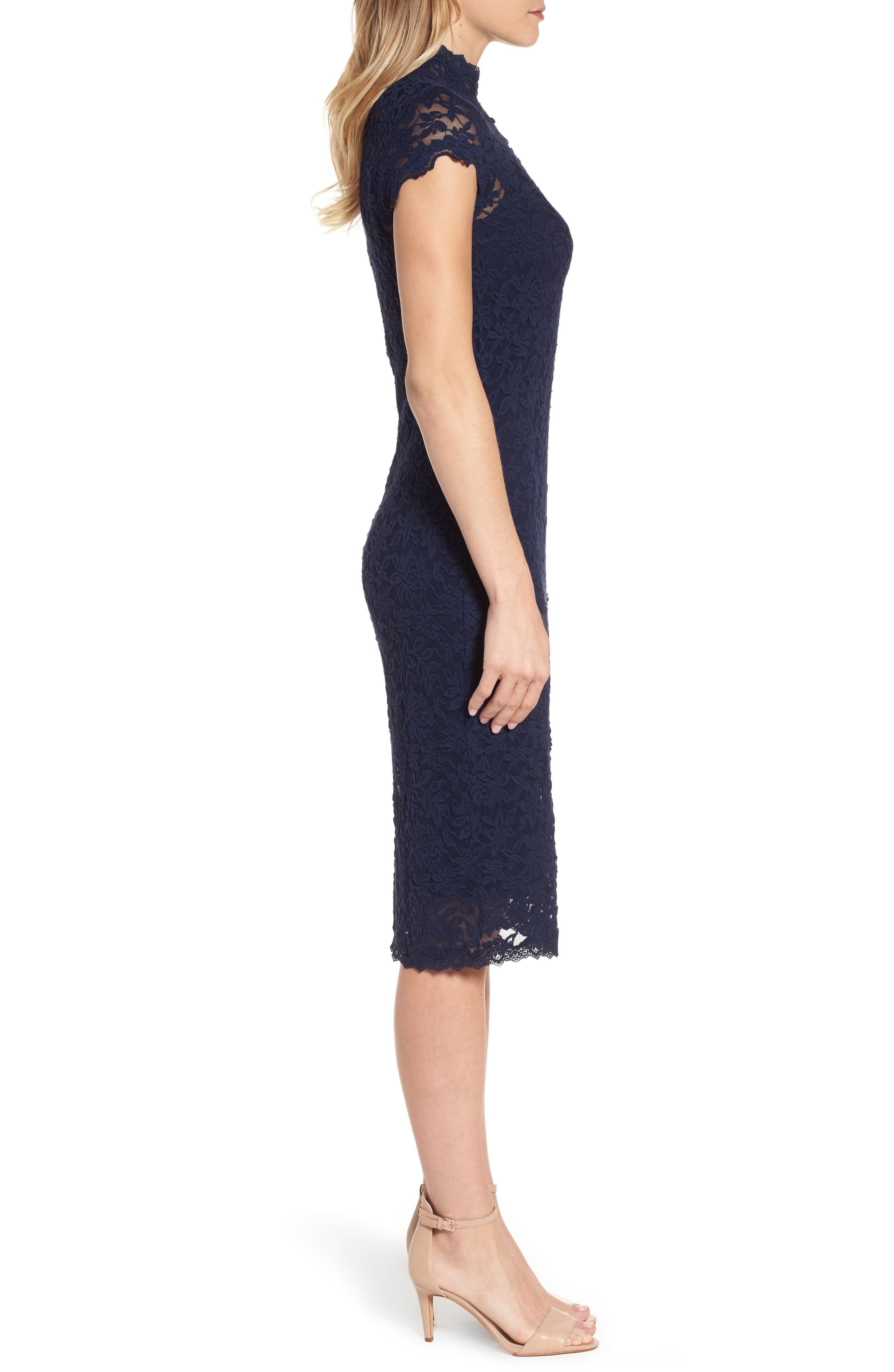 Delicia Lace Body-Con Dress,                             Alternate thumbnail 3, color,                             Dark Blue