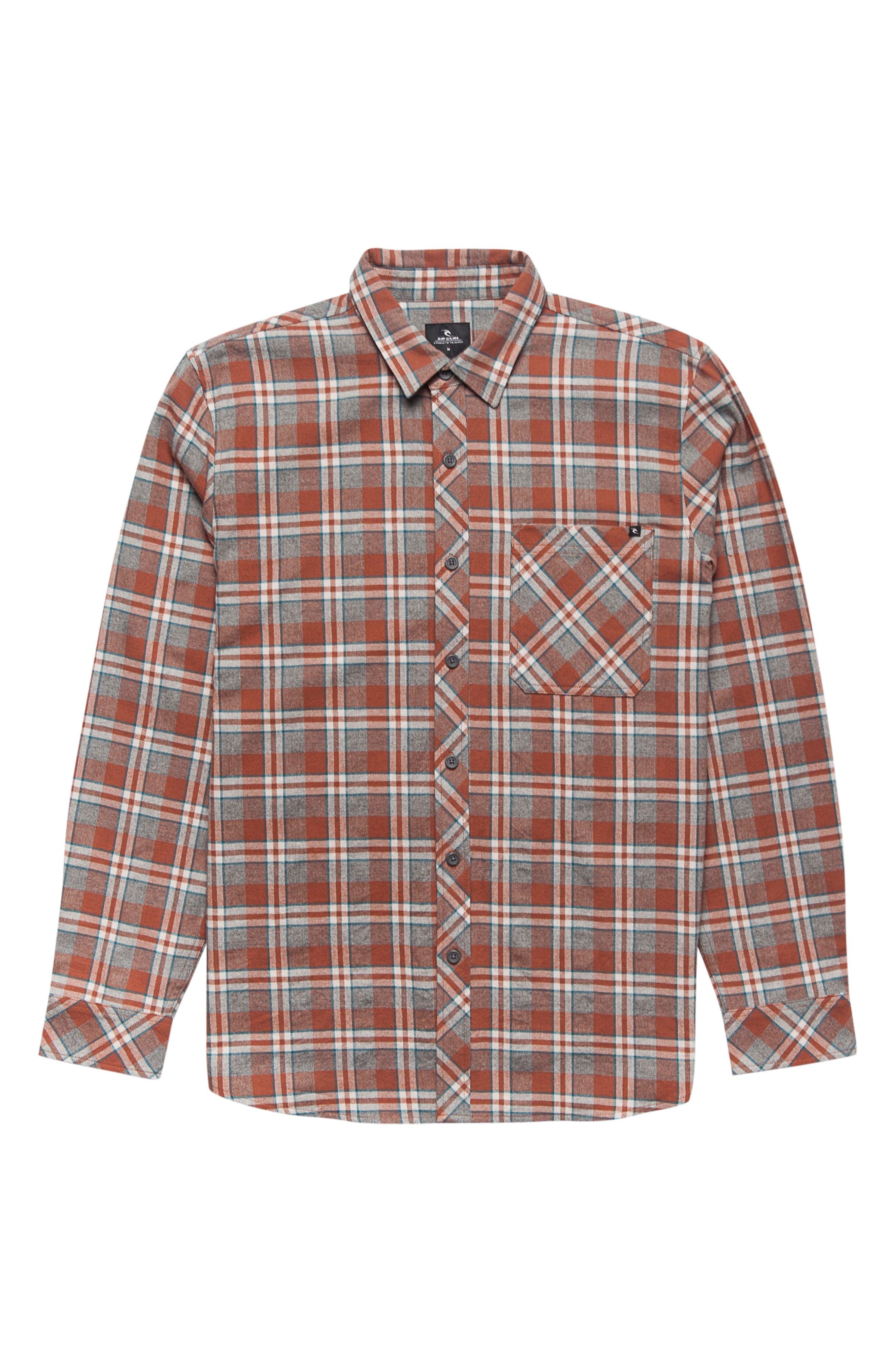Mundo Plaid Flannel Shirt,                         Main,                         color, Red
