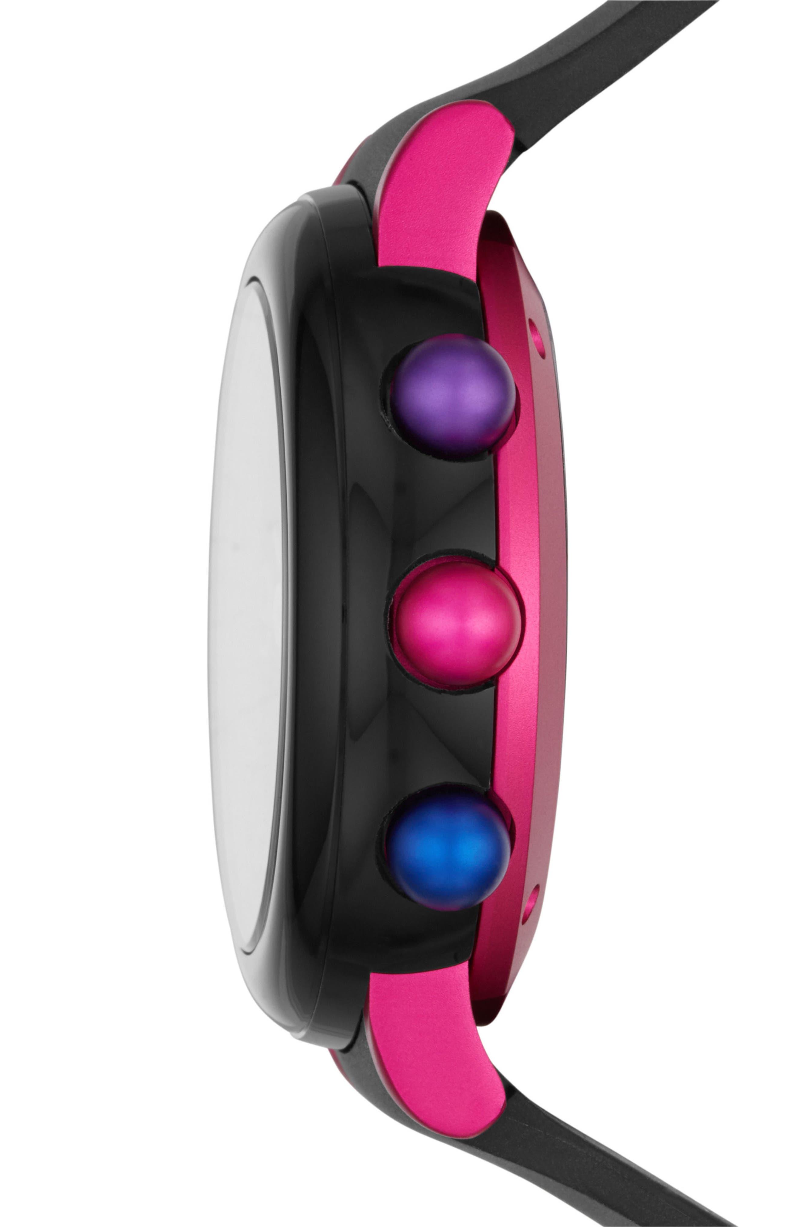 Riley Hybrid Rubber Strap Watch, 42mm,                             Alternate thumbnail 3, color,                             Black/ Pink