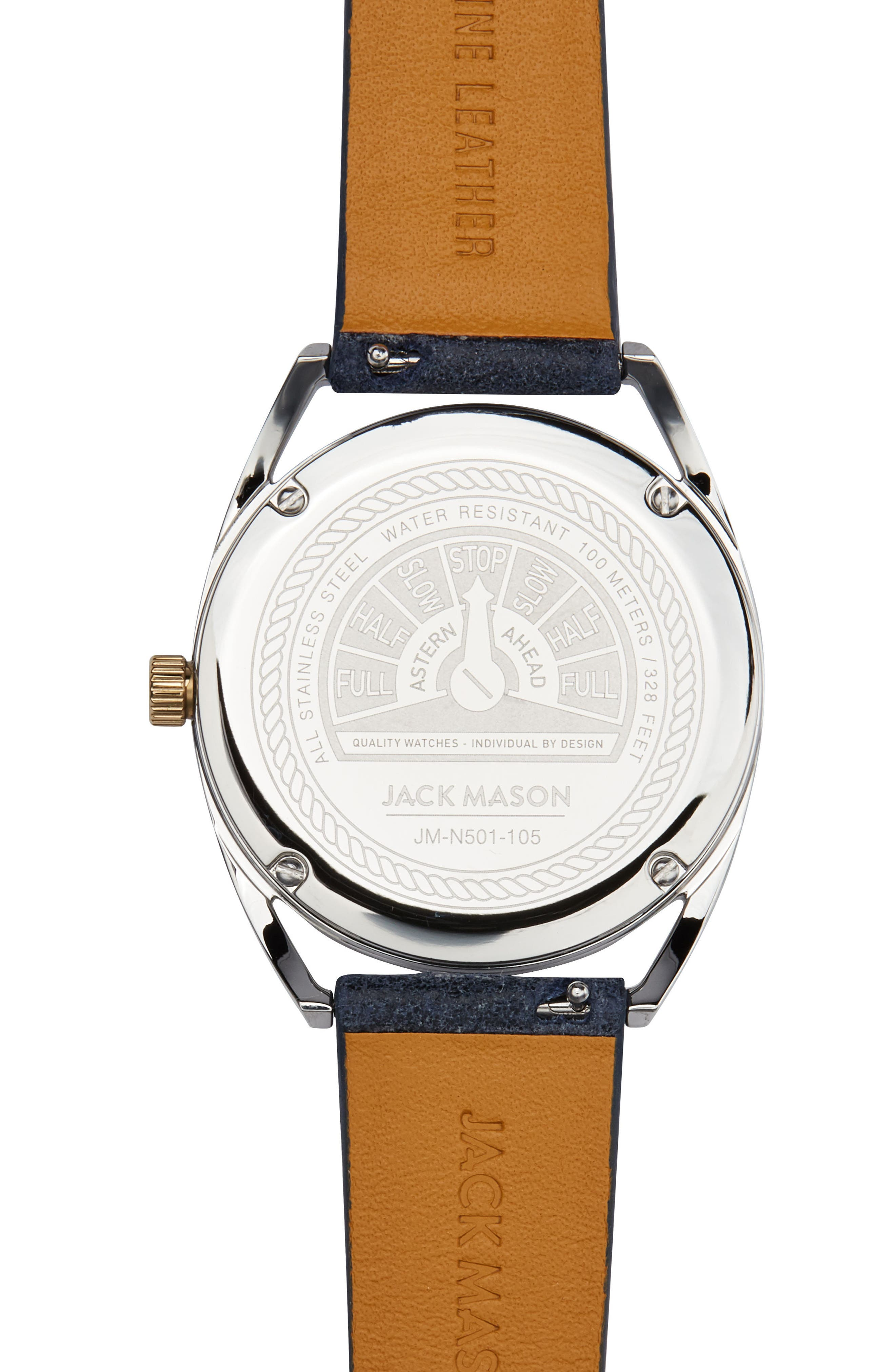 Deck Leather Strap Watch, 36mm,                             Alternate thumbnail 3, color,                             Navy/ Champagne/ Silver