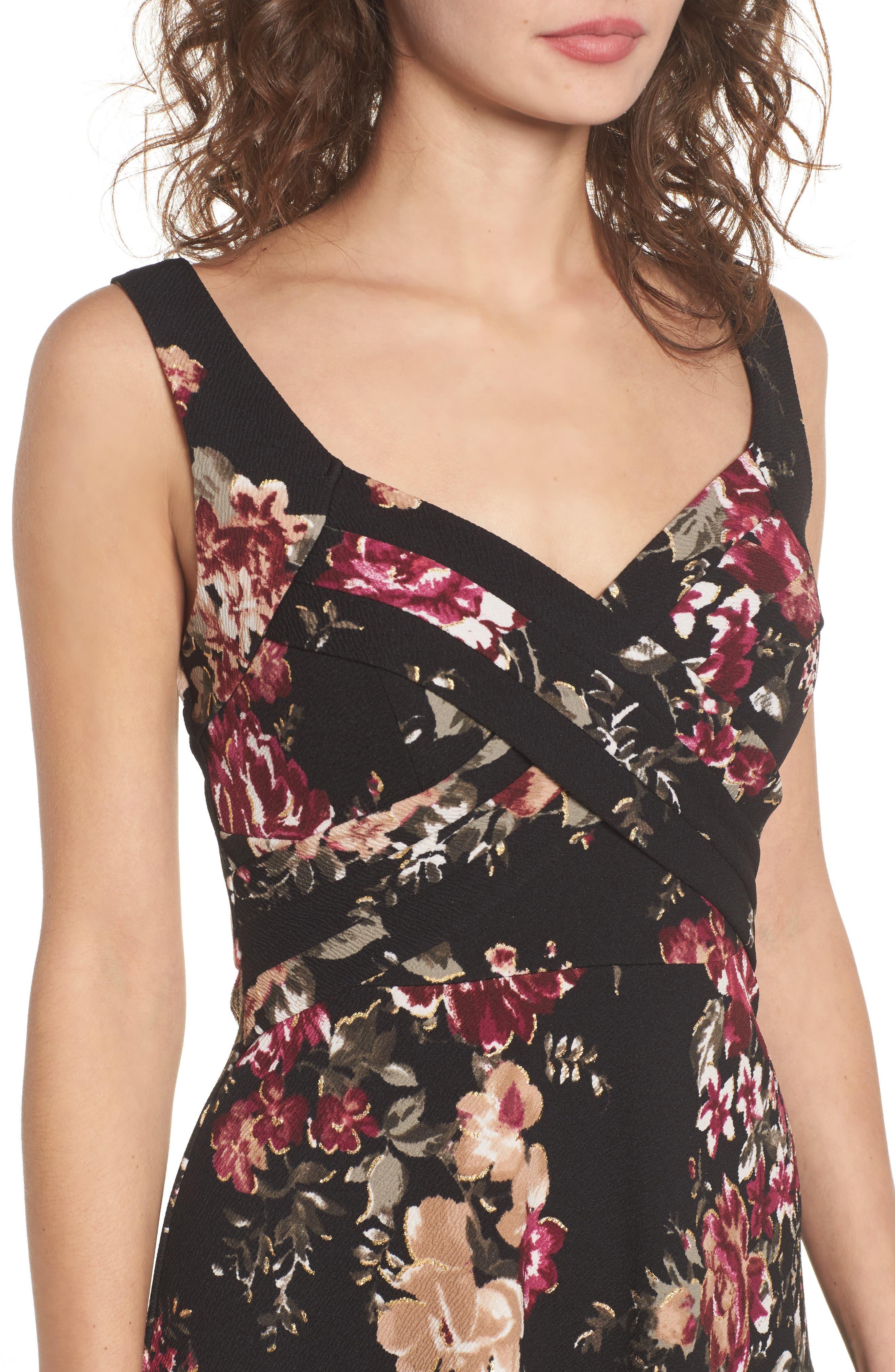 Floral Fit & Flare Dress,                             Alternate thumbnail 4, color,                             Black