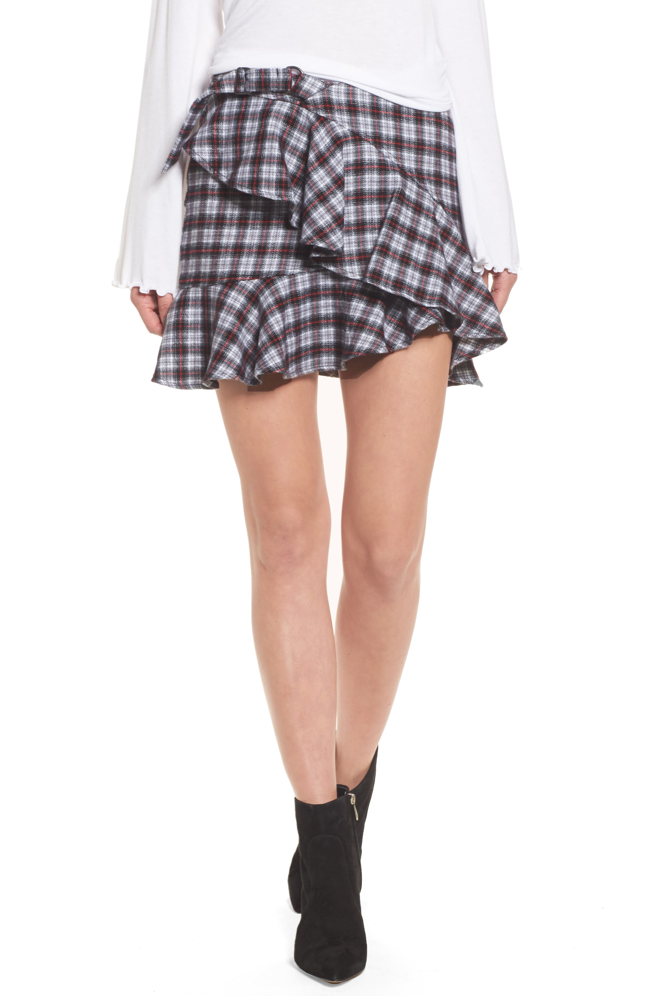 Dominic Asymmetrical Ruffle Skirt,                             Main thumbnail 1, color,                             Multi Flannel