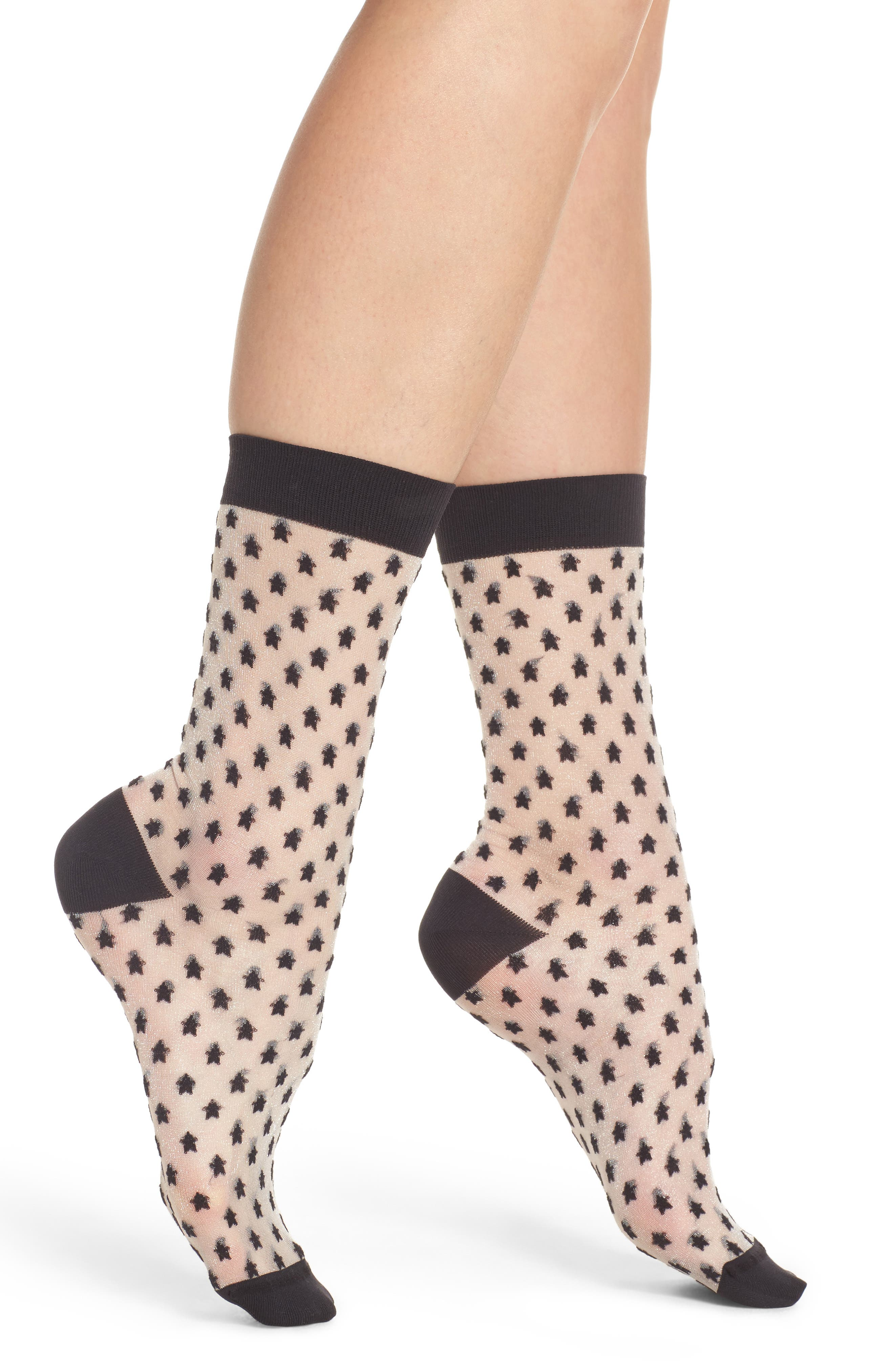 Sheer Star Crew Socks,                         Main,                         color, Black Star