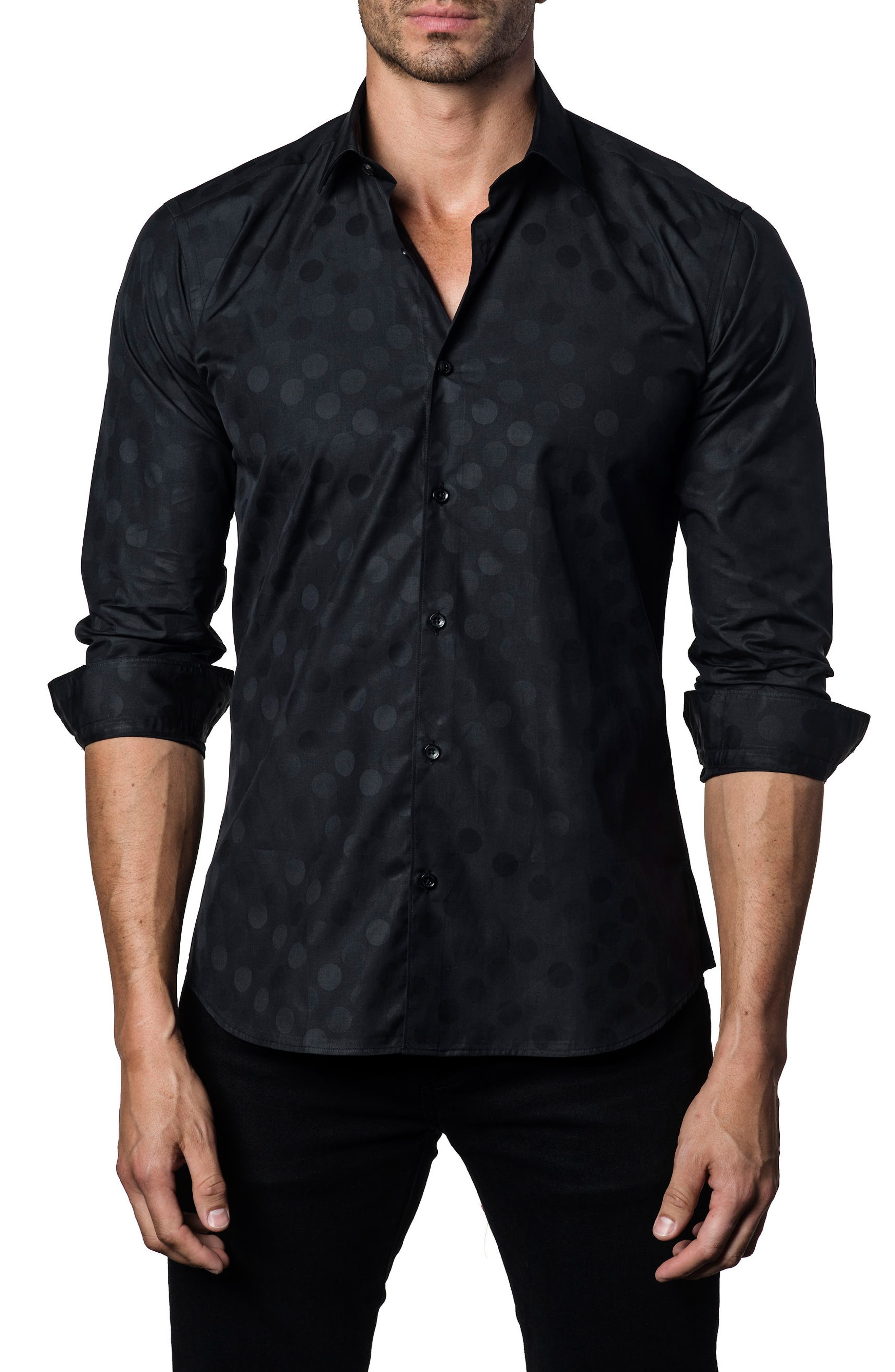 Dot Print Sport Shirt,                             Main thumbnail 1, color,                             Black Polka Dot Jacquard