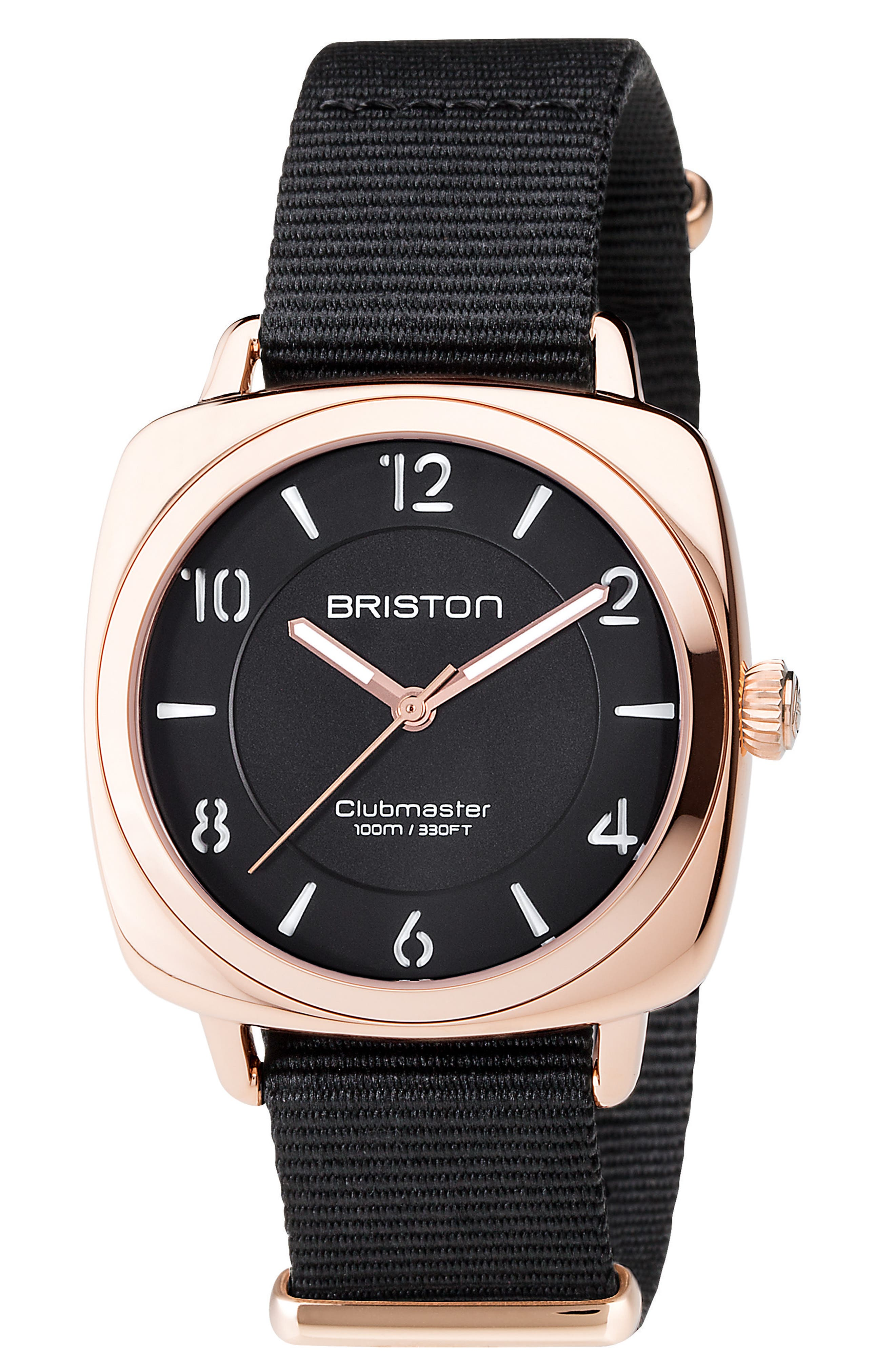 Clubmaster Chic Nylon Strap Watch, 36mm,                             Main thumbnail 1, color,                             Black/ Silver
