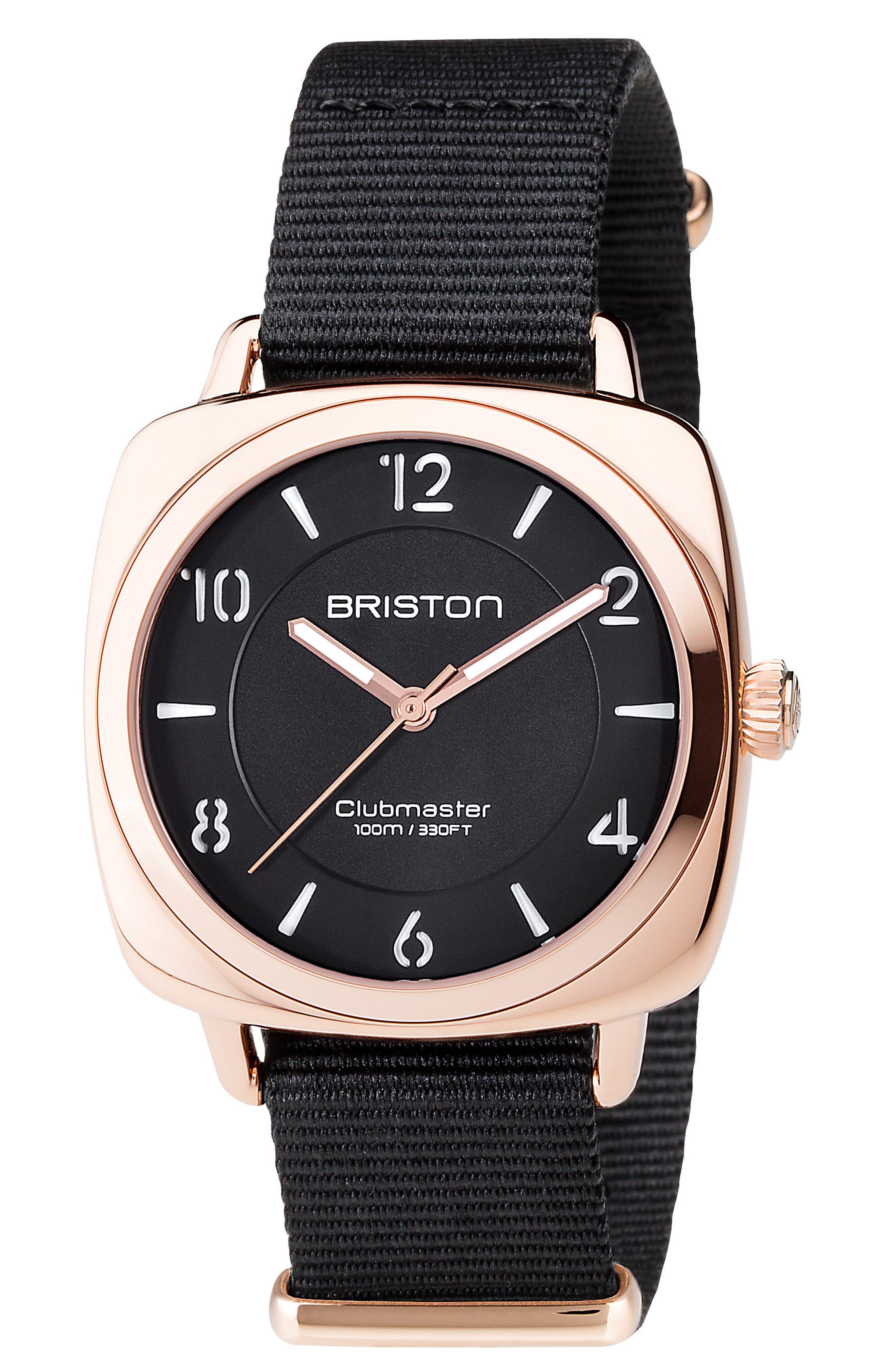 Clubmaster Chic Nylon Strap Watch, 36mm,                         Main,                         color, Black/ Silver
