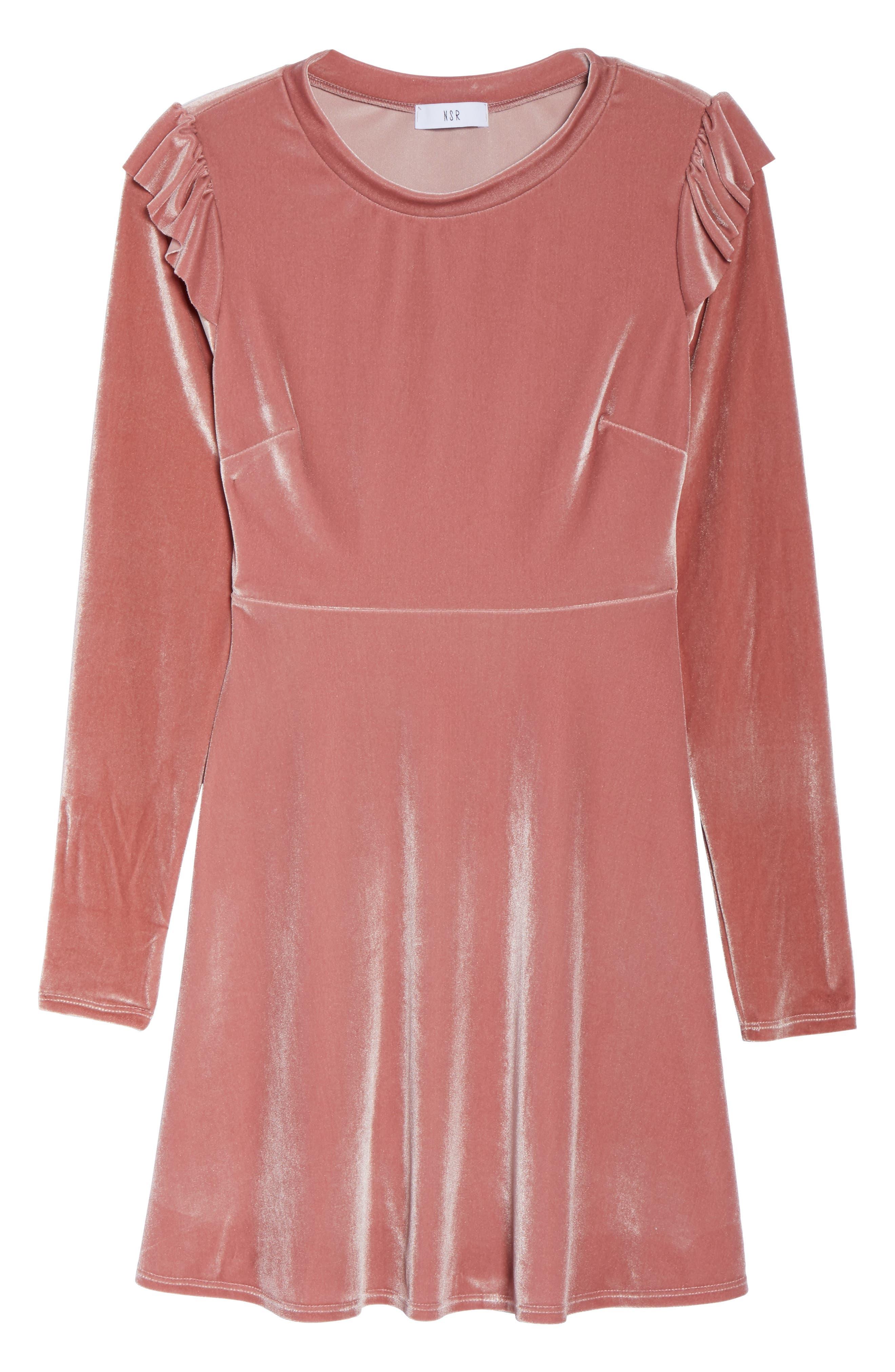 Velvet Fit & Flare Dress,                         Main,                         color, Rose