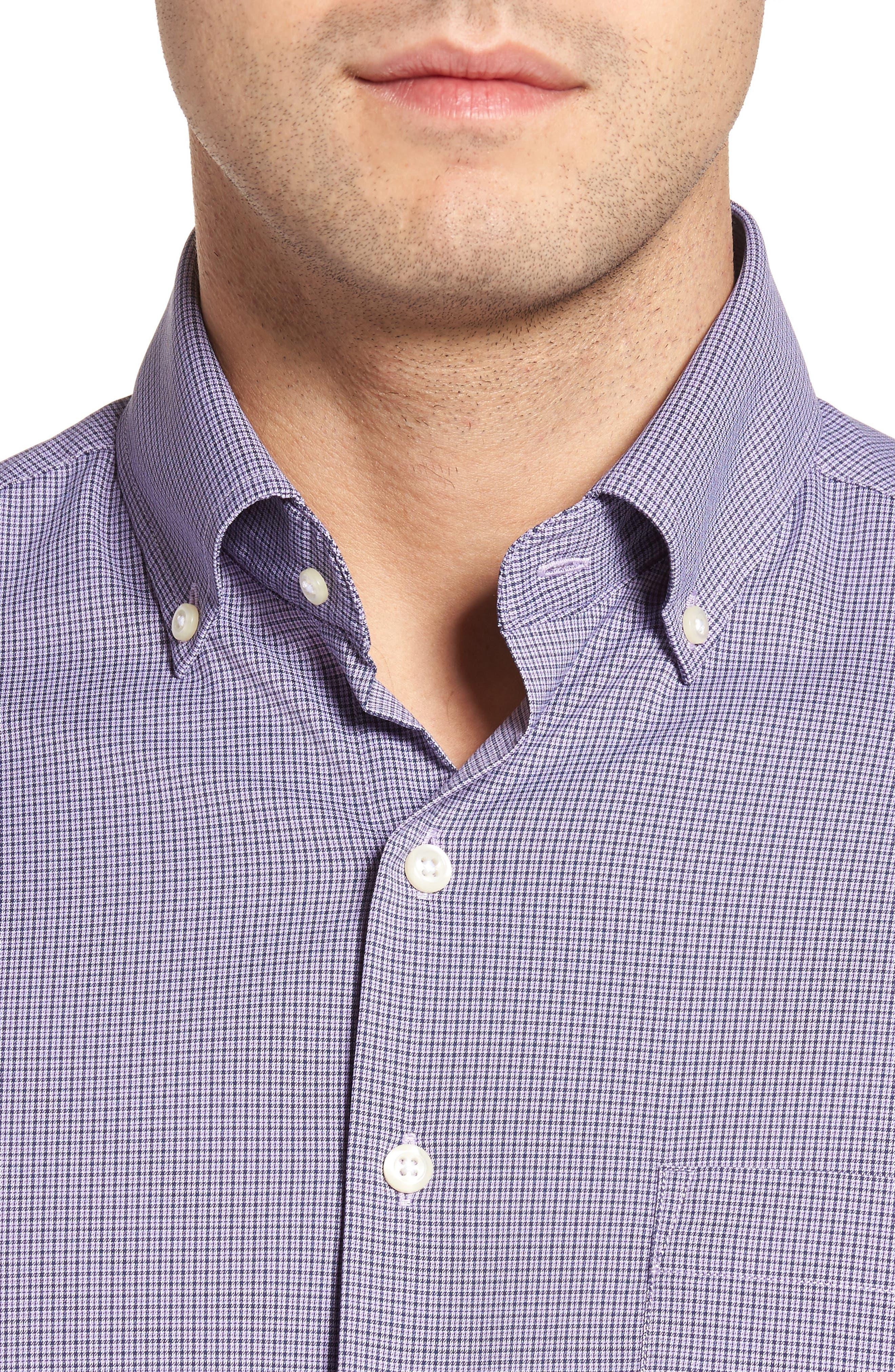Parsons Check Performance Sport Shirt,                             Alternate thumbnail 4, color,                             Muscadine