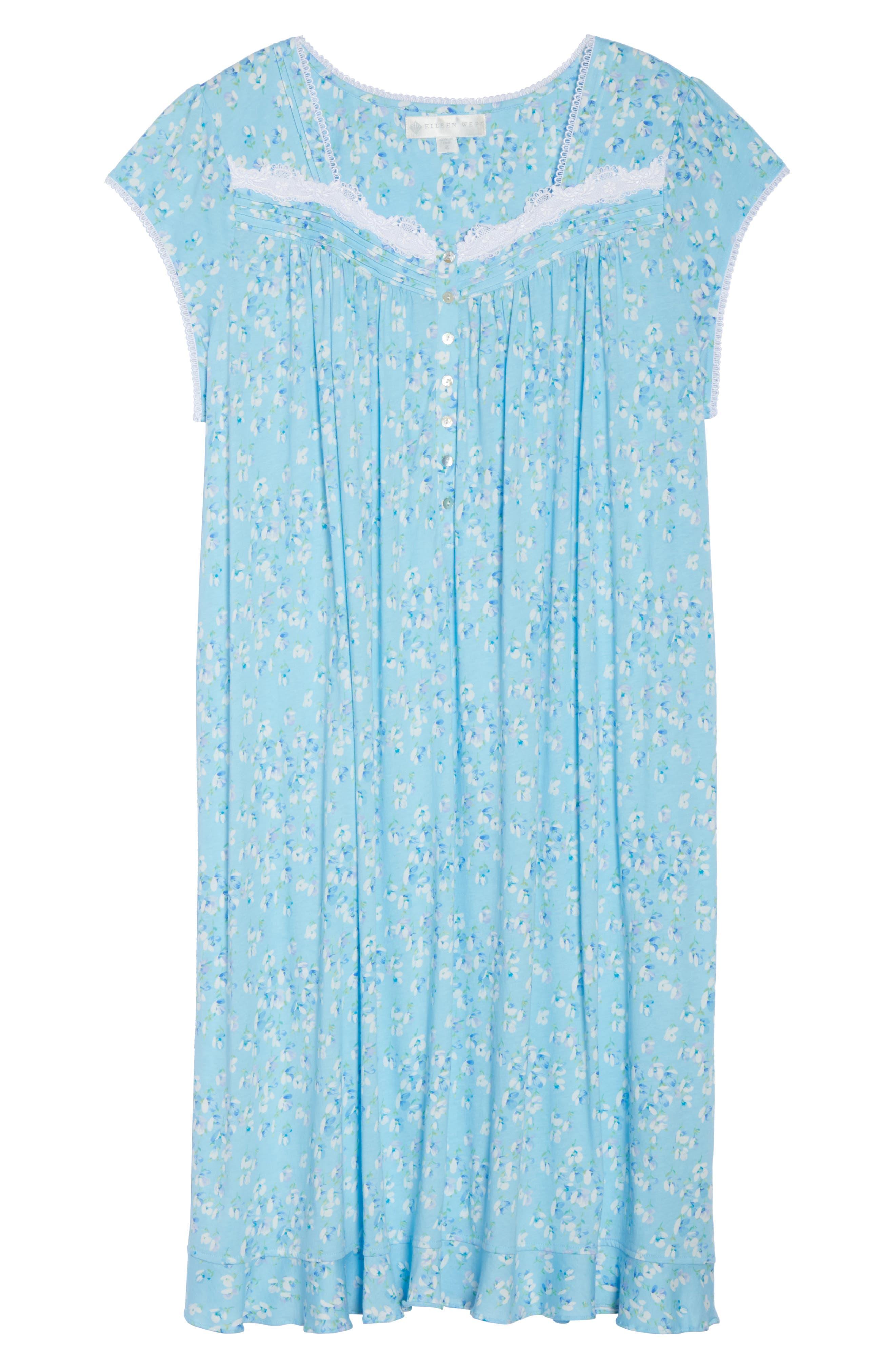 Waltz Nightgown,                             Alternate thumbnail 4, color,                             Light Sea Glass/ Multi Floral