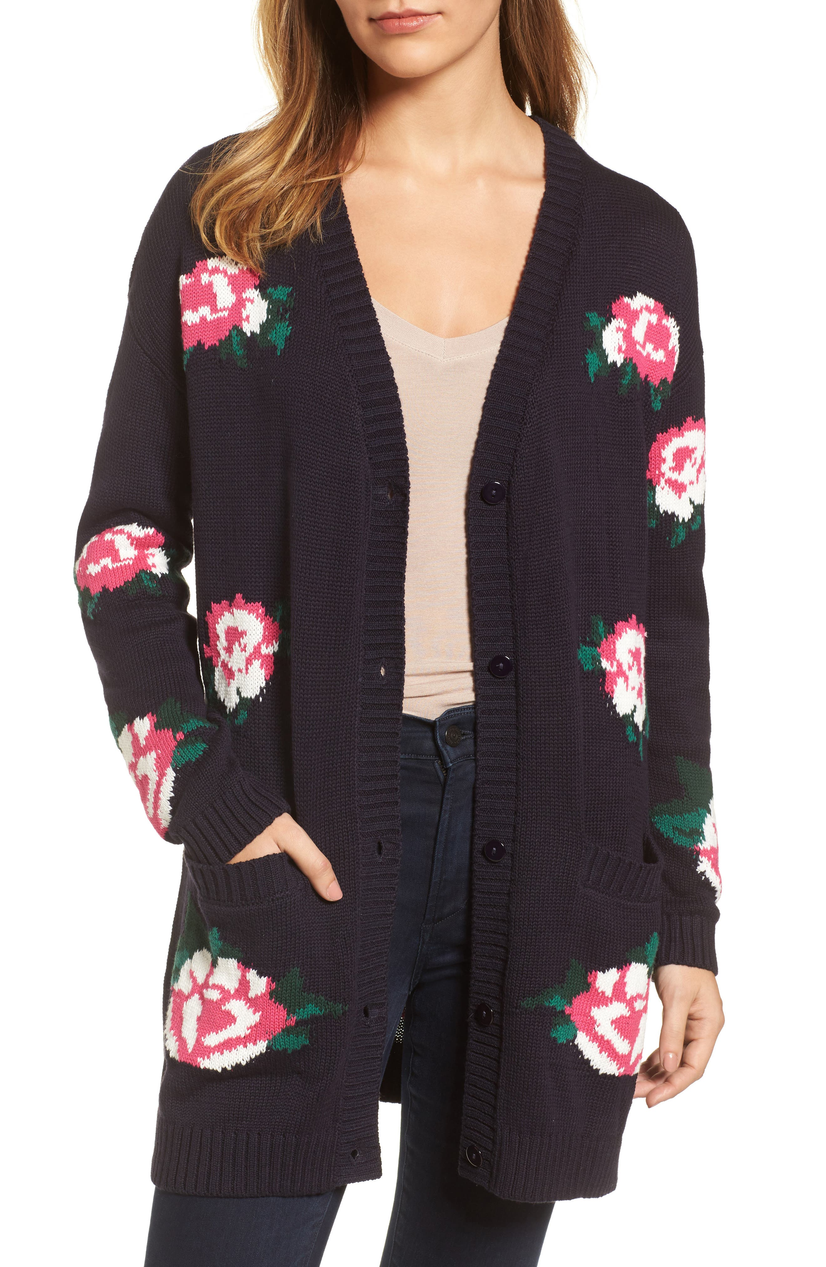 Main Image - RDI Floral Intarsia Cardigan