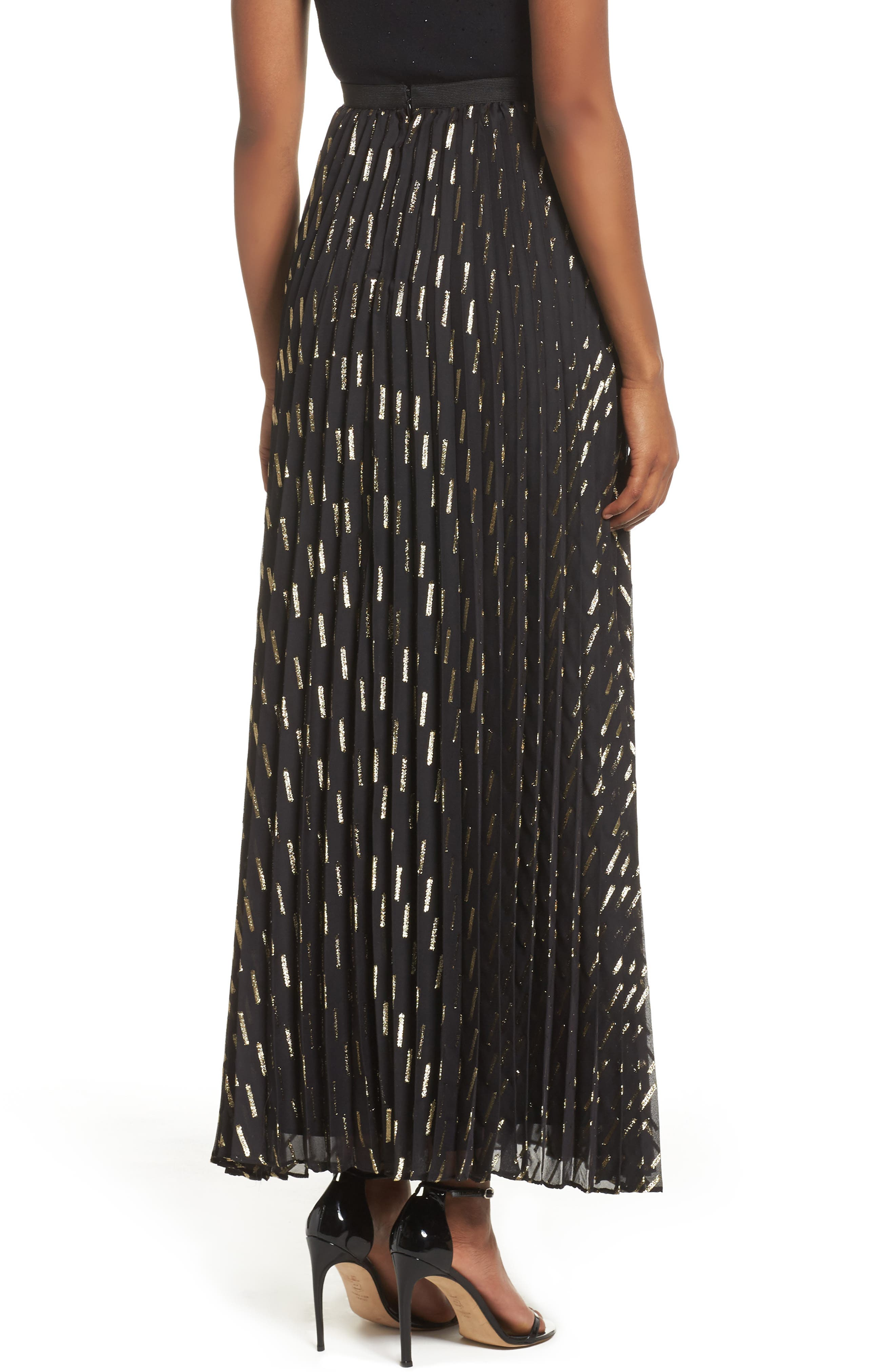 Metallic Detail Pleated Chiffon Maxi Skirt,                             Alternate thumbnail 4, color,                             Black Gold