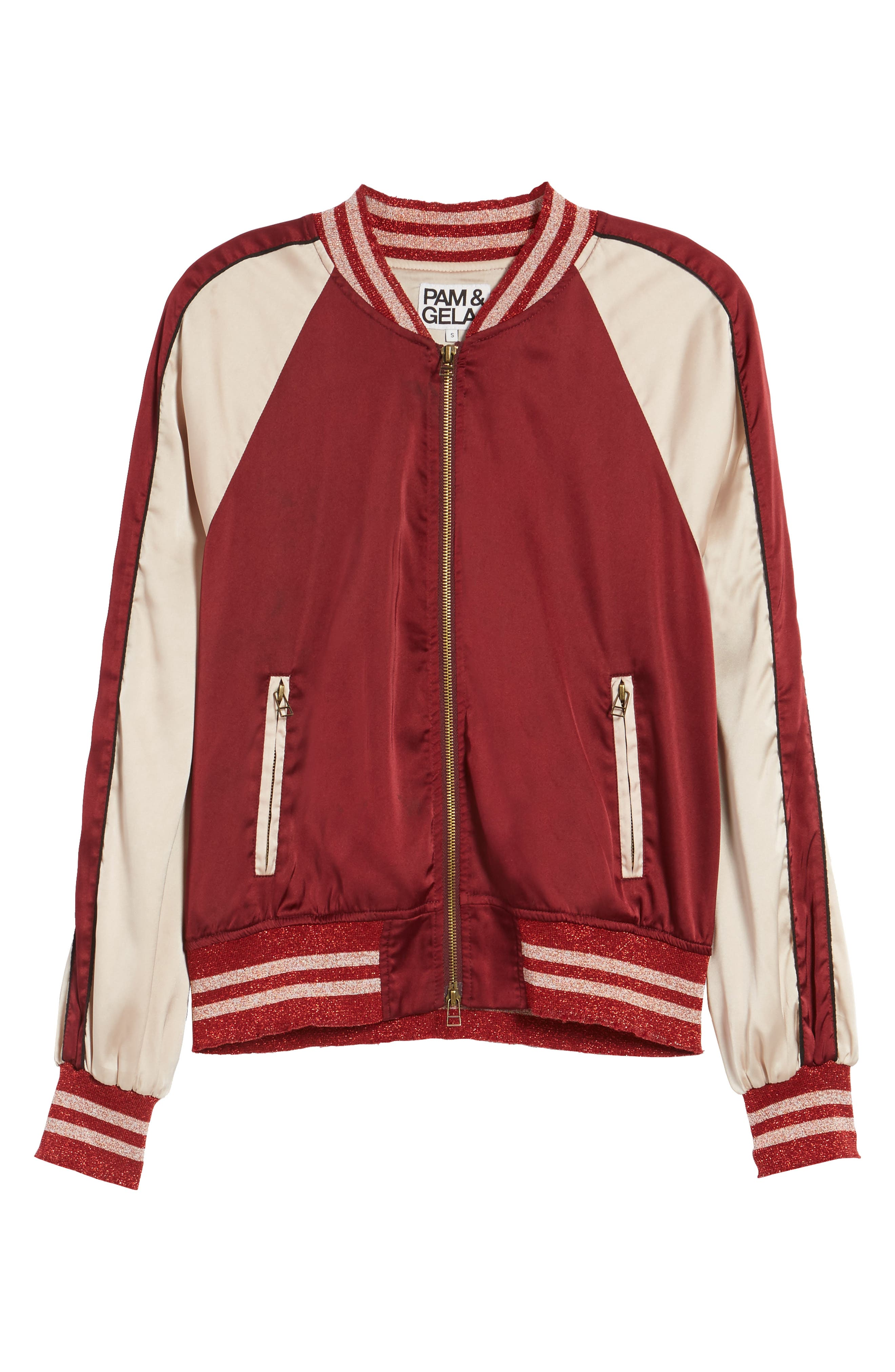 Los Feliz Tigers Bomber Jacket,                             Alternate thumbnail 6, color,                             Maroon