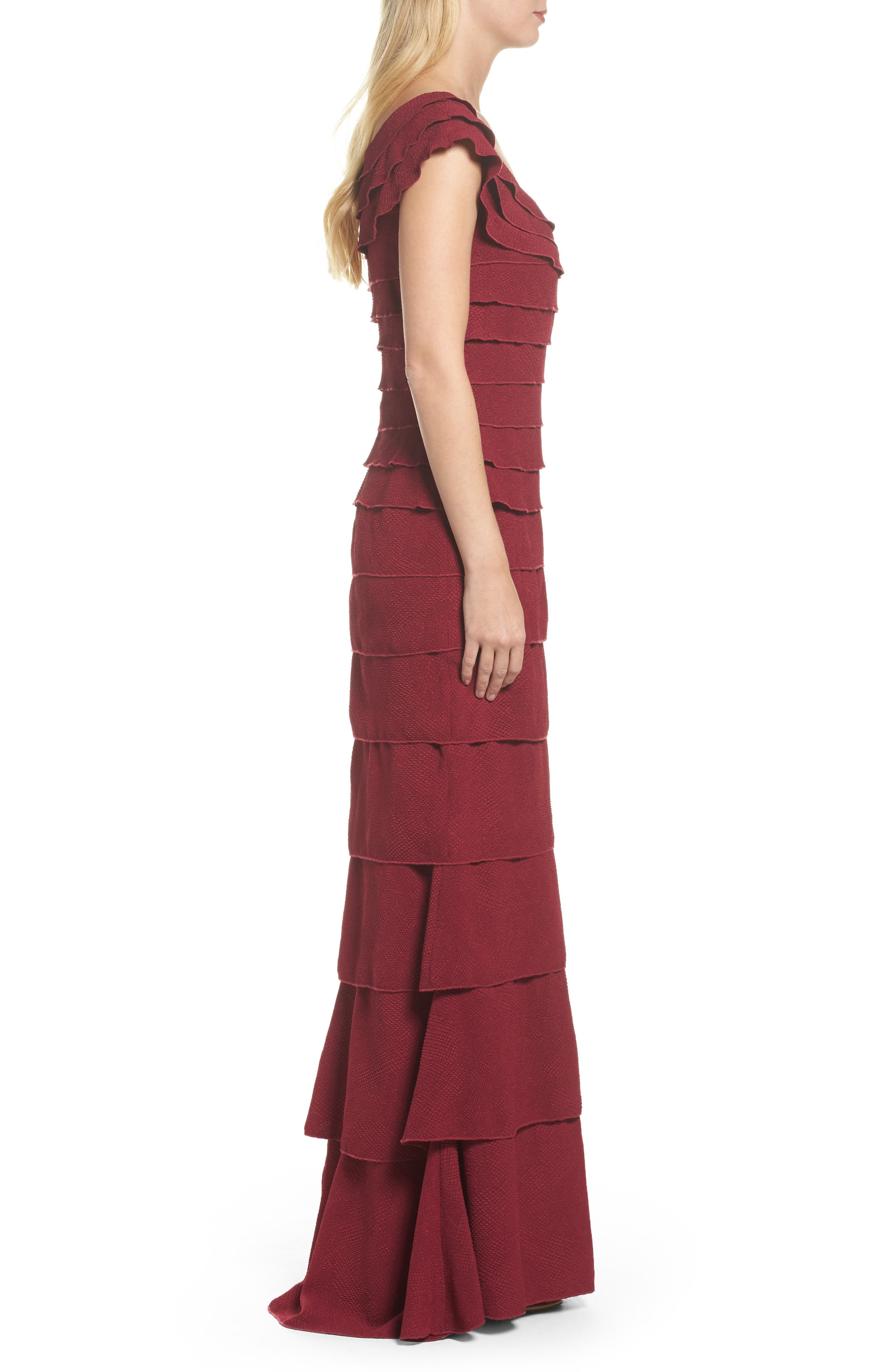 Tiered Crepe Gown,                             Alternate thumbnail 3, color,                             Wine