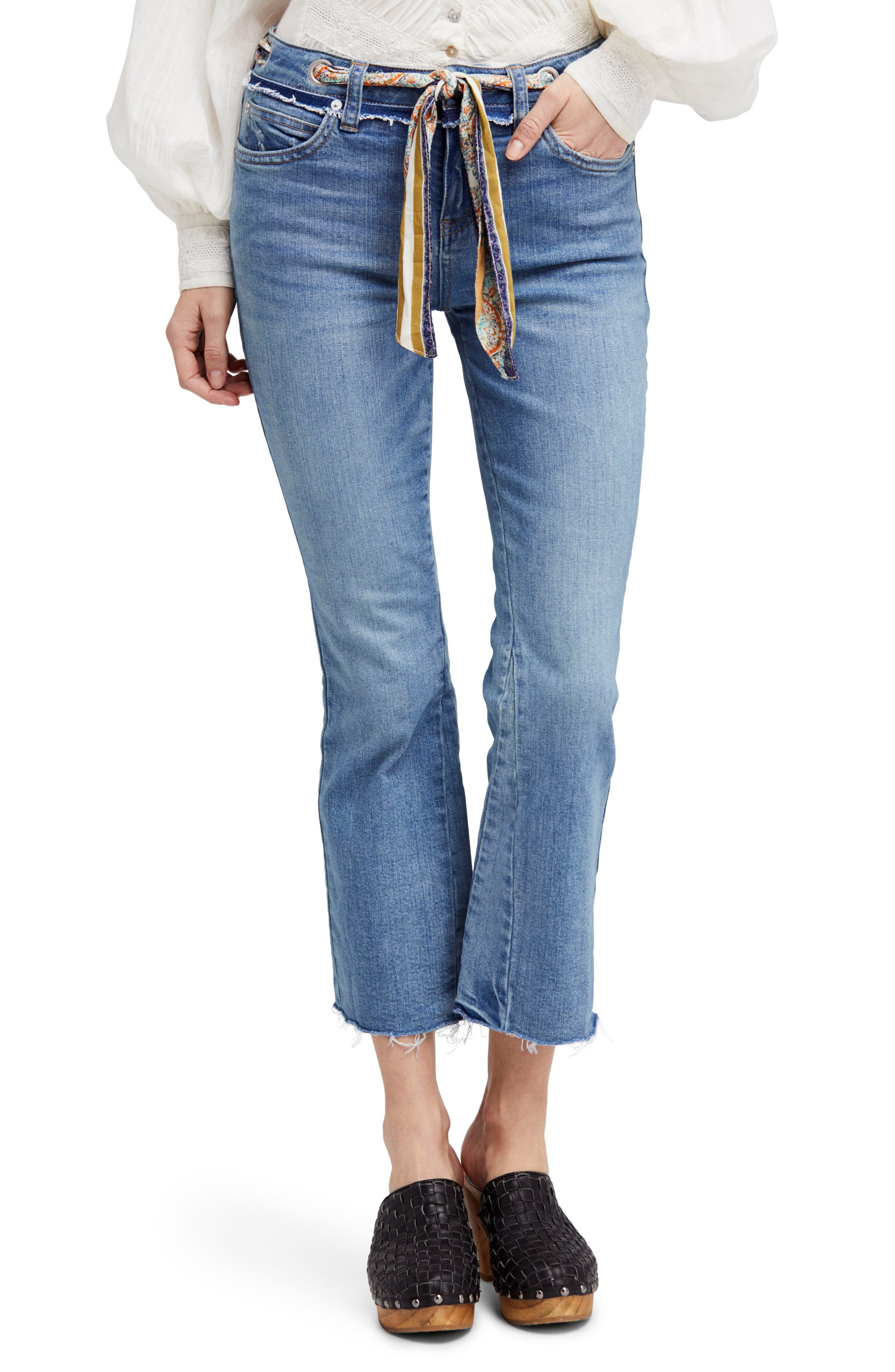 Main Image - Free People Belt Out High Waist Crop Bootcut Jeans