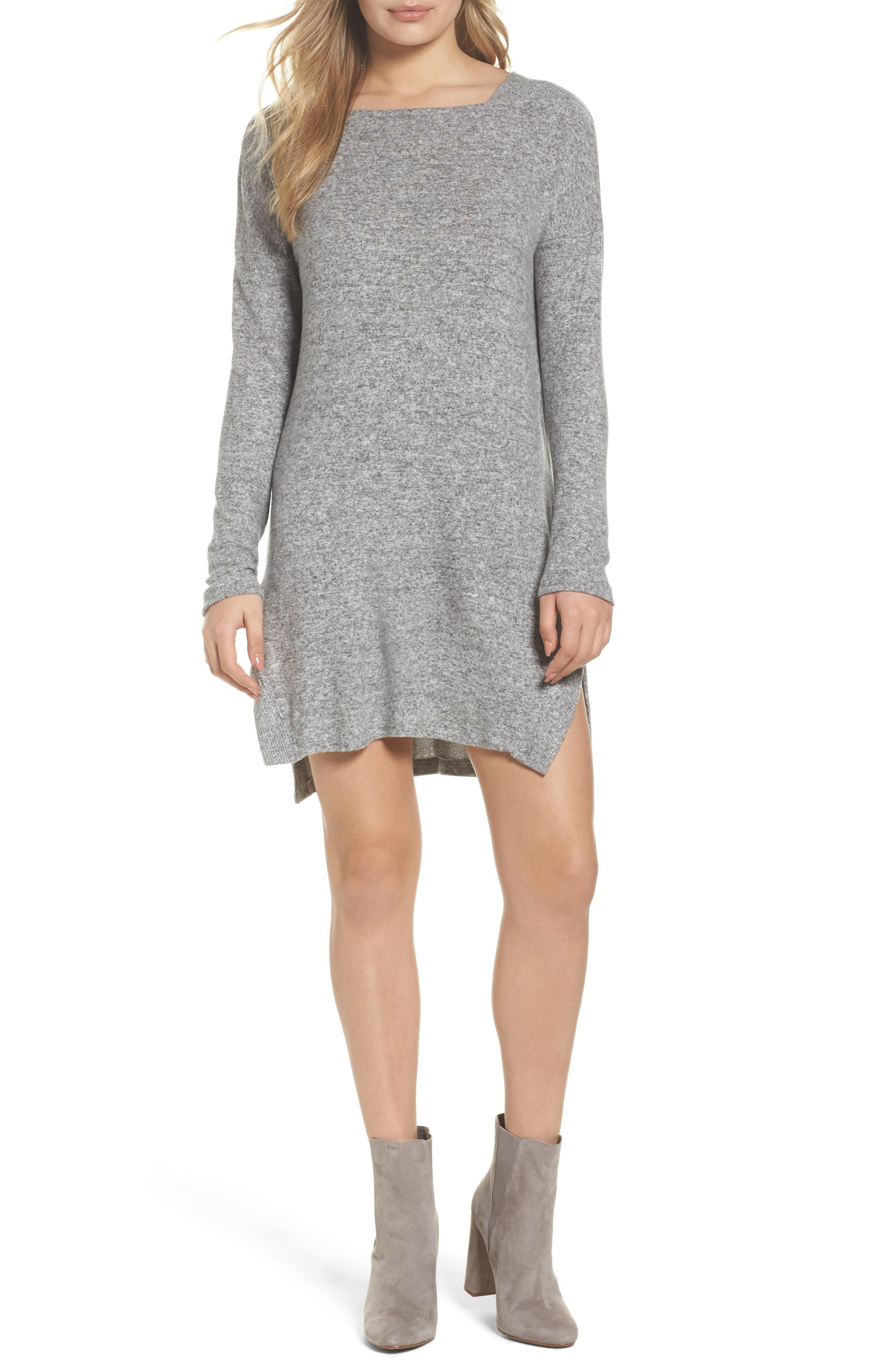 Sweater Dress,                         Main,                         color, Grey