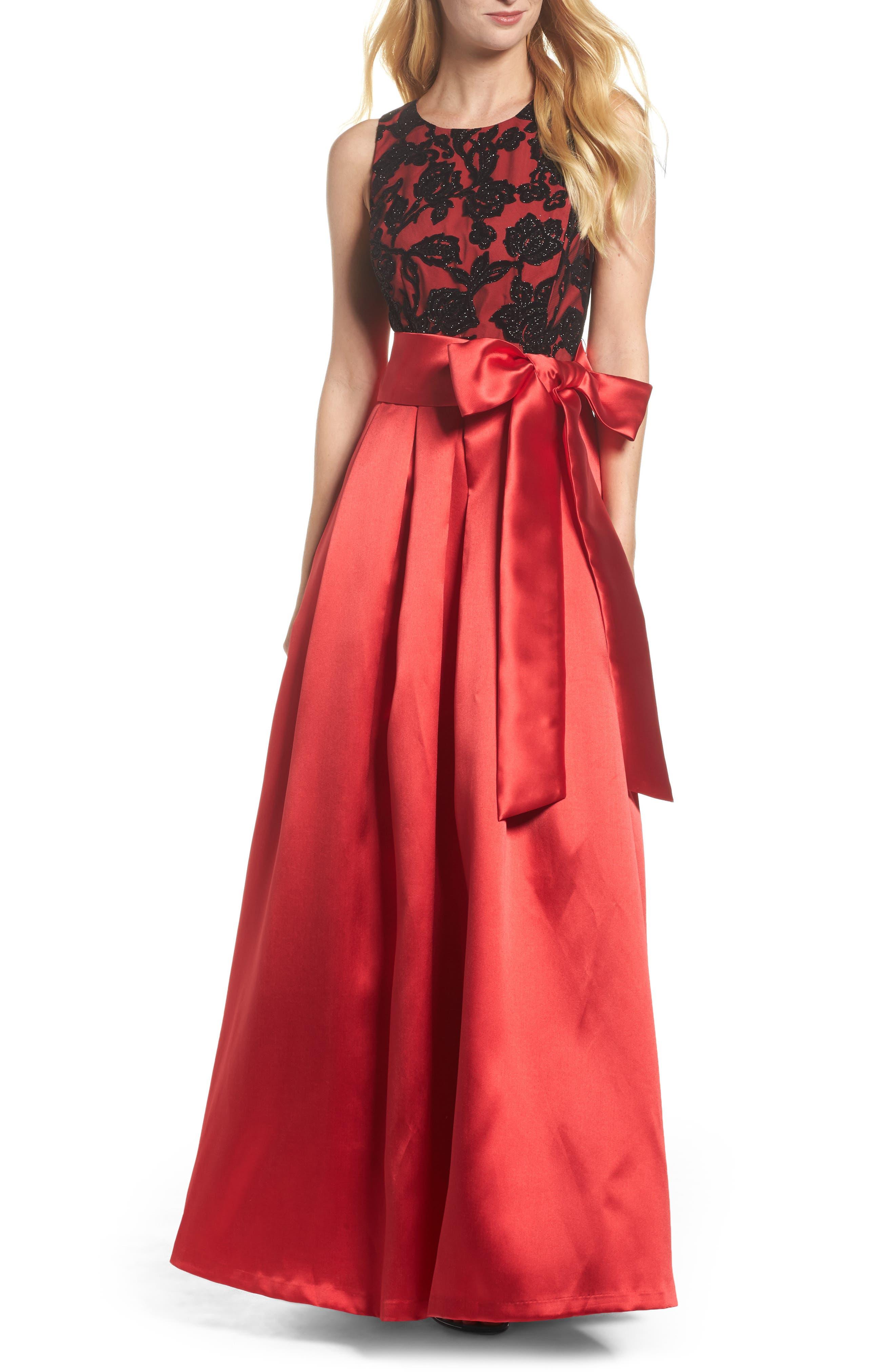 Velvet Burnout & Mikado Ballgown,                         Main,                         color, Black Red