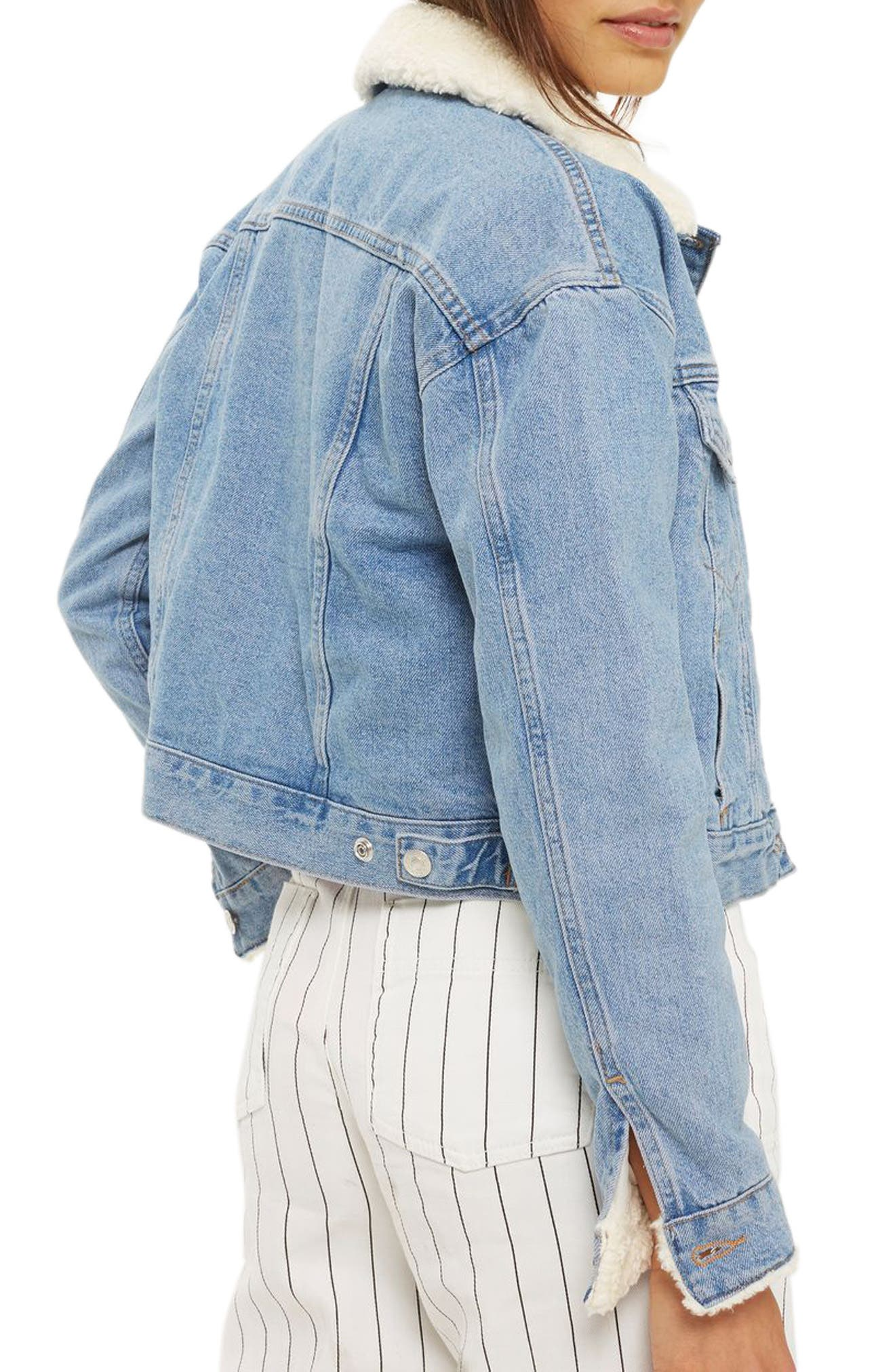 Tilda Borg Denim Jacket,                             Alternate thumbnail 2, color,                             Mid Denim