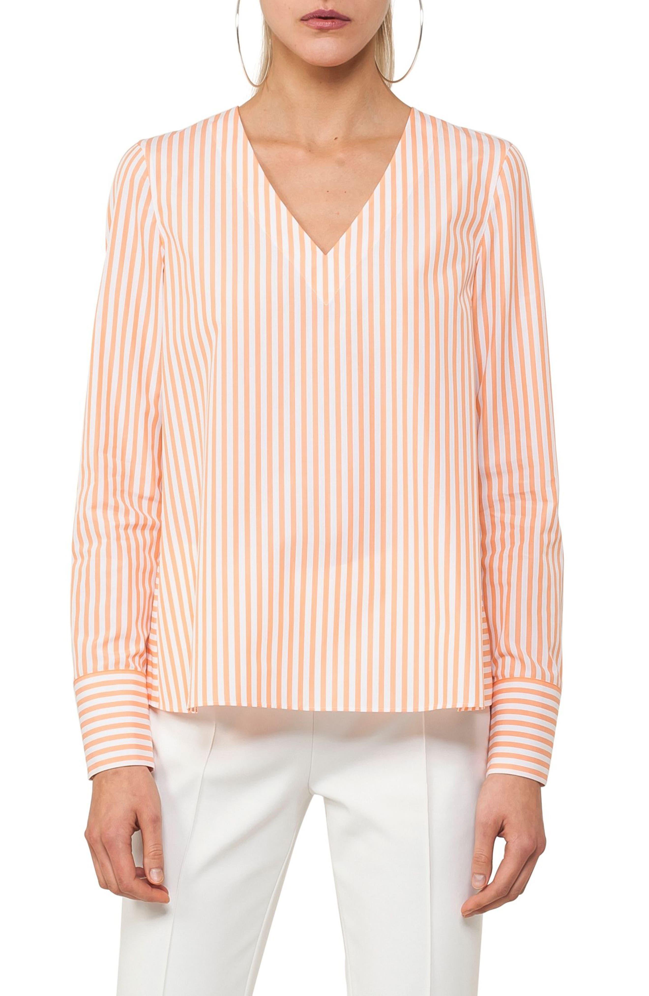 Stripe A-Line Cotton Blouse,                         Main,                         color, Papaya / Cream