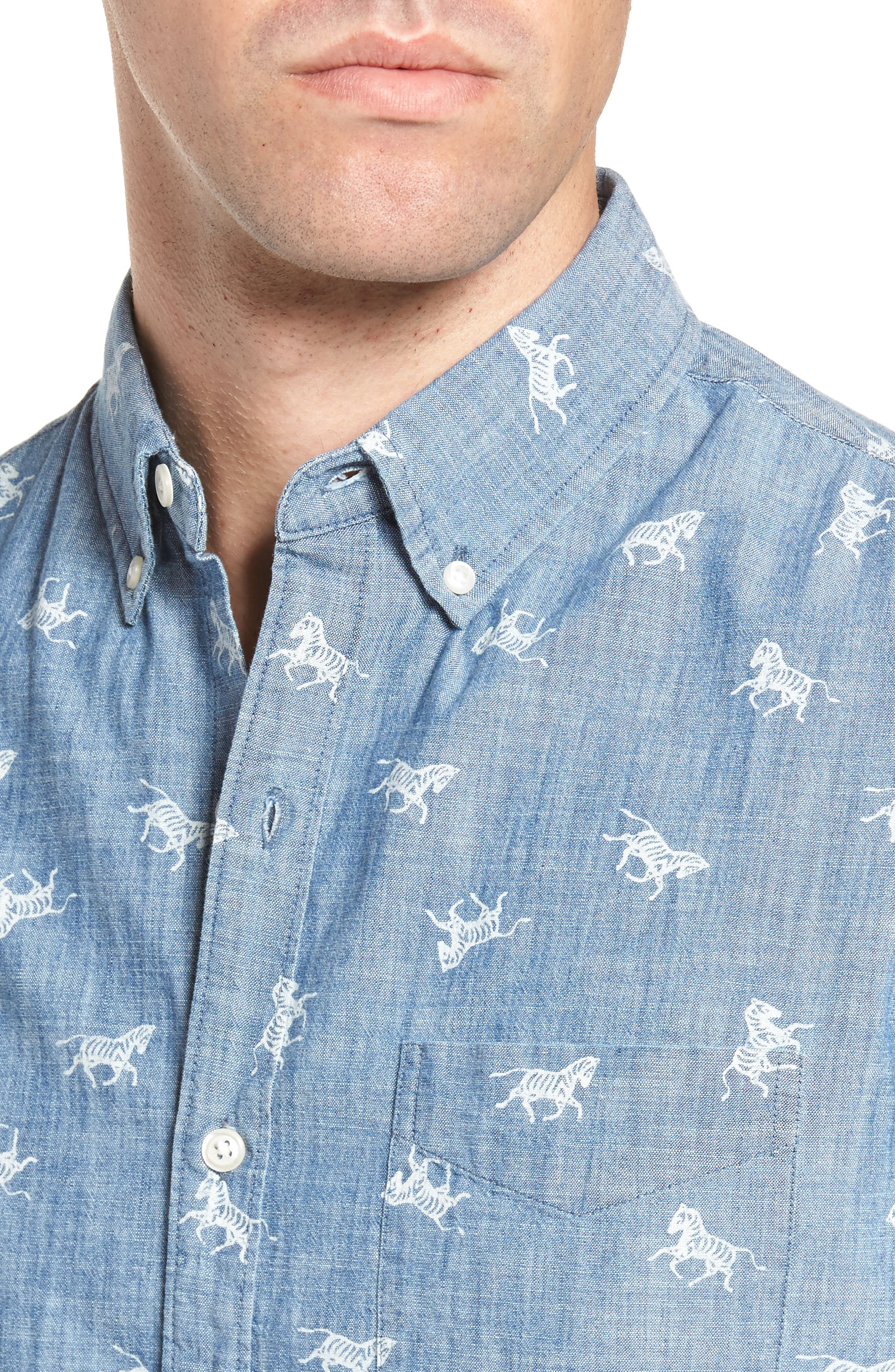 Slim Fit Embroidered Zebras Sport Shirt,                             Alternate thumbnail 4, color,                             Wild Zebras/ Chambray