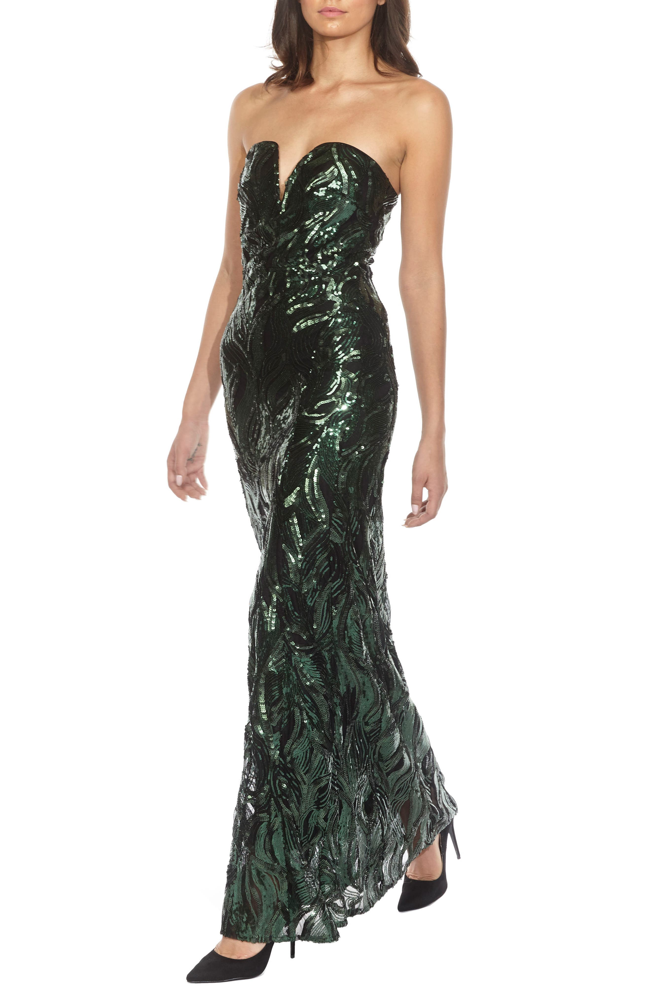 Gaynor Sequin Strapless Maxi Dress,                             Alternate thumbnail 3, color,                             Green
