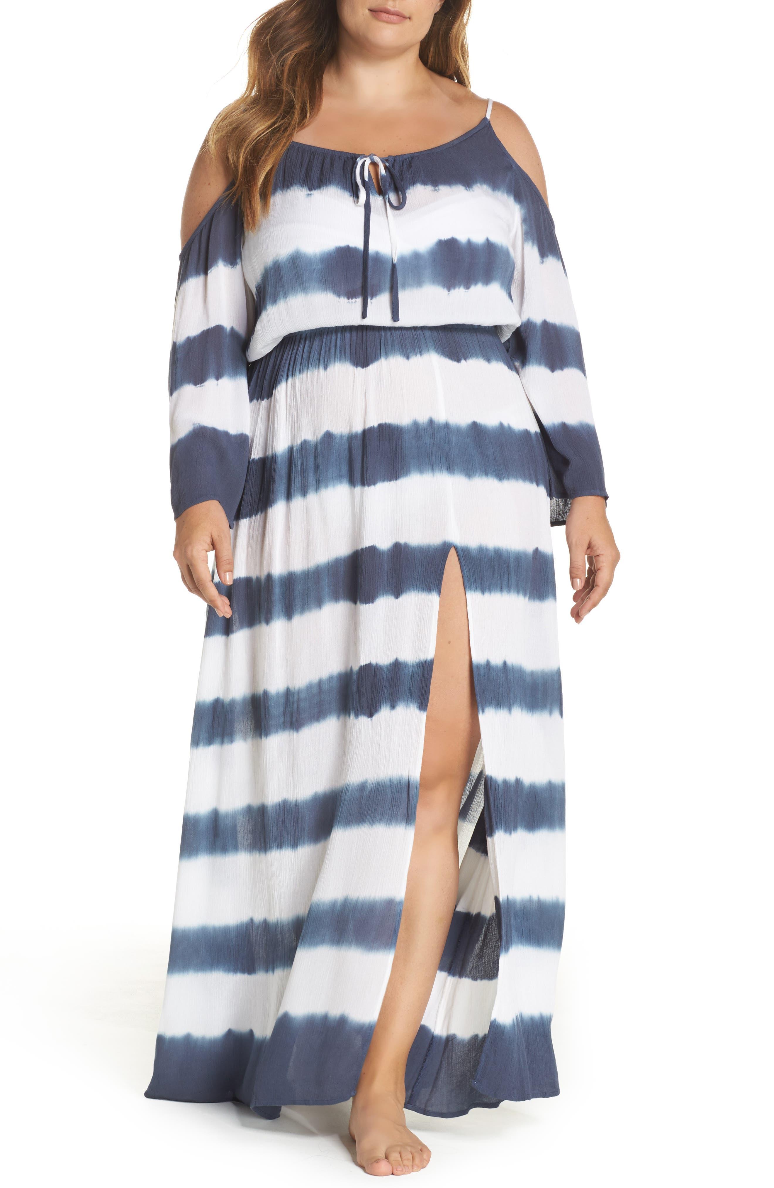 Cold Shoulder Cover-Up Maxi Dress,                             Main thumbnail 1, color,                             Td Indigo/ White