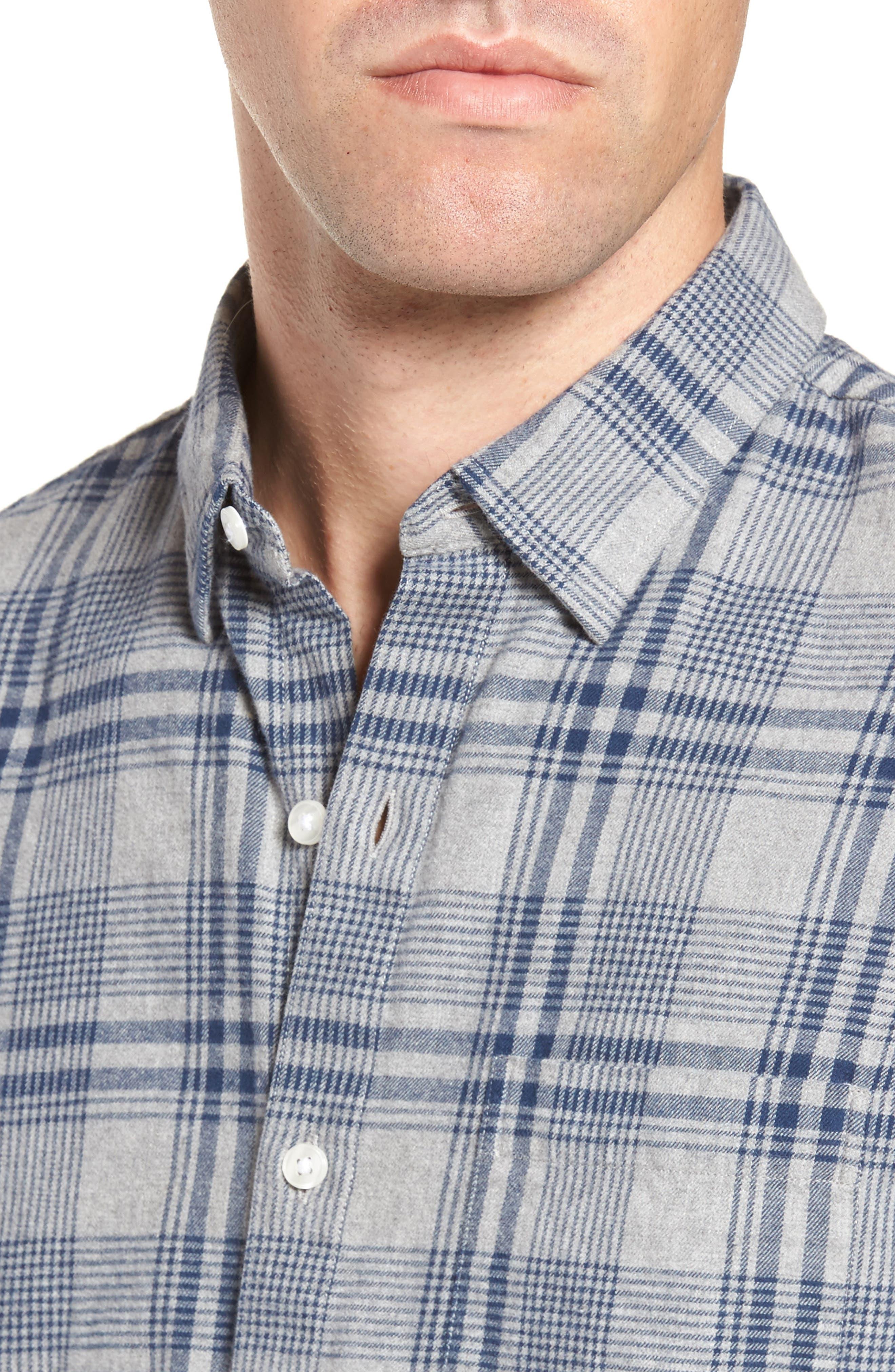 Slim Fit Brushed Plaid Sport Shirt,                             Alternate thumbnail 4, color,                             Rivercrest Plaid Navy
