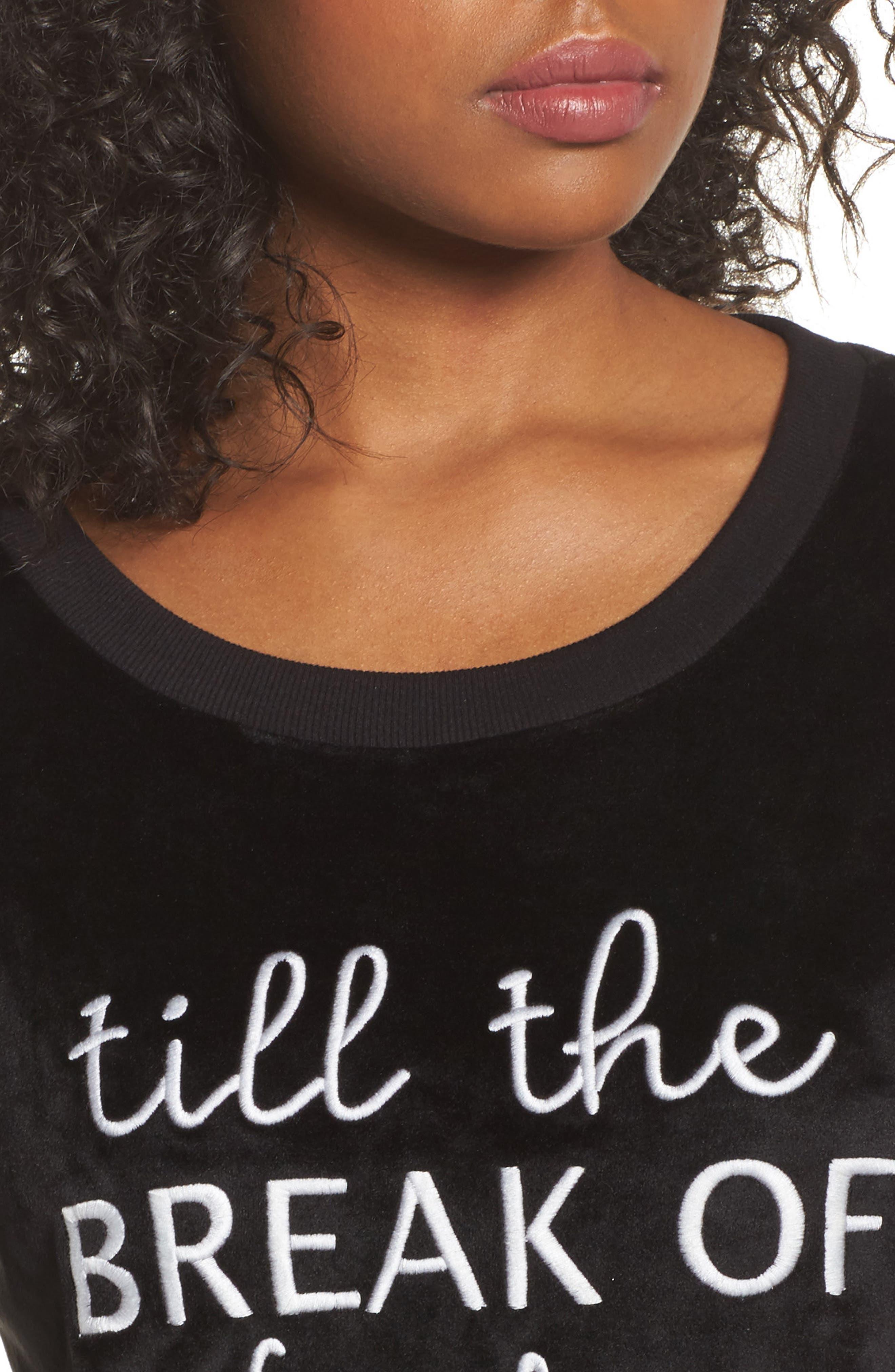 Luxury Plush Sleep Shirt,                             Alternate thumbnail 4, color,                             Black