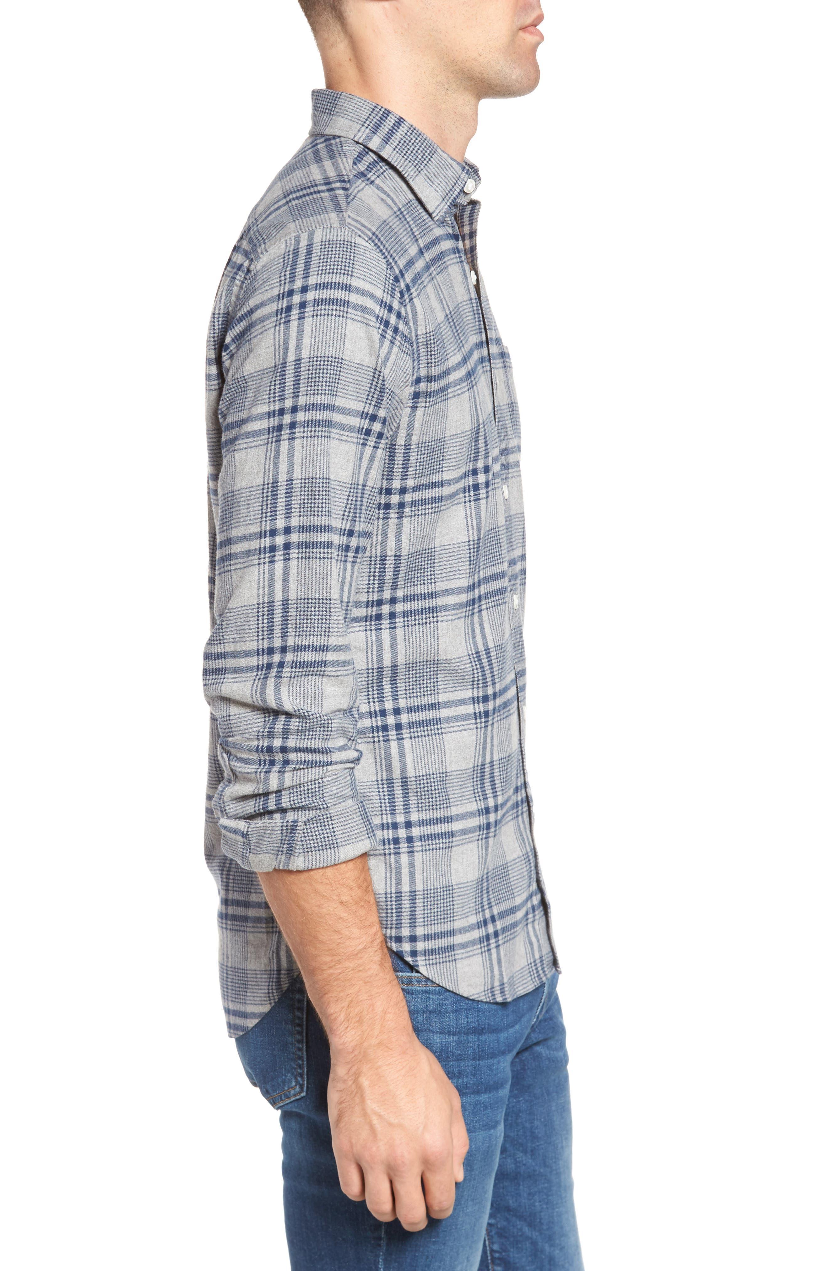 Slim Fit Brushed Plaid Sport Shirt,                             Alternate thumbnail 3, color,                             Rivercrest Plaid Navy