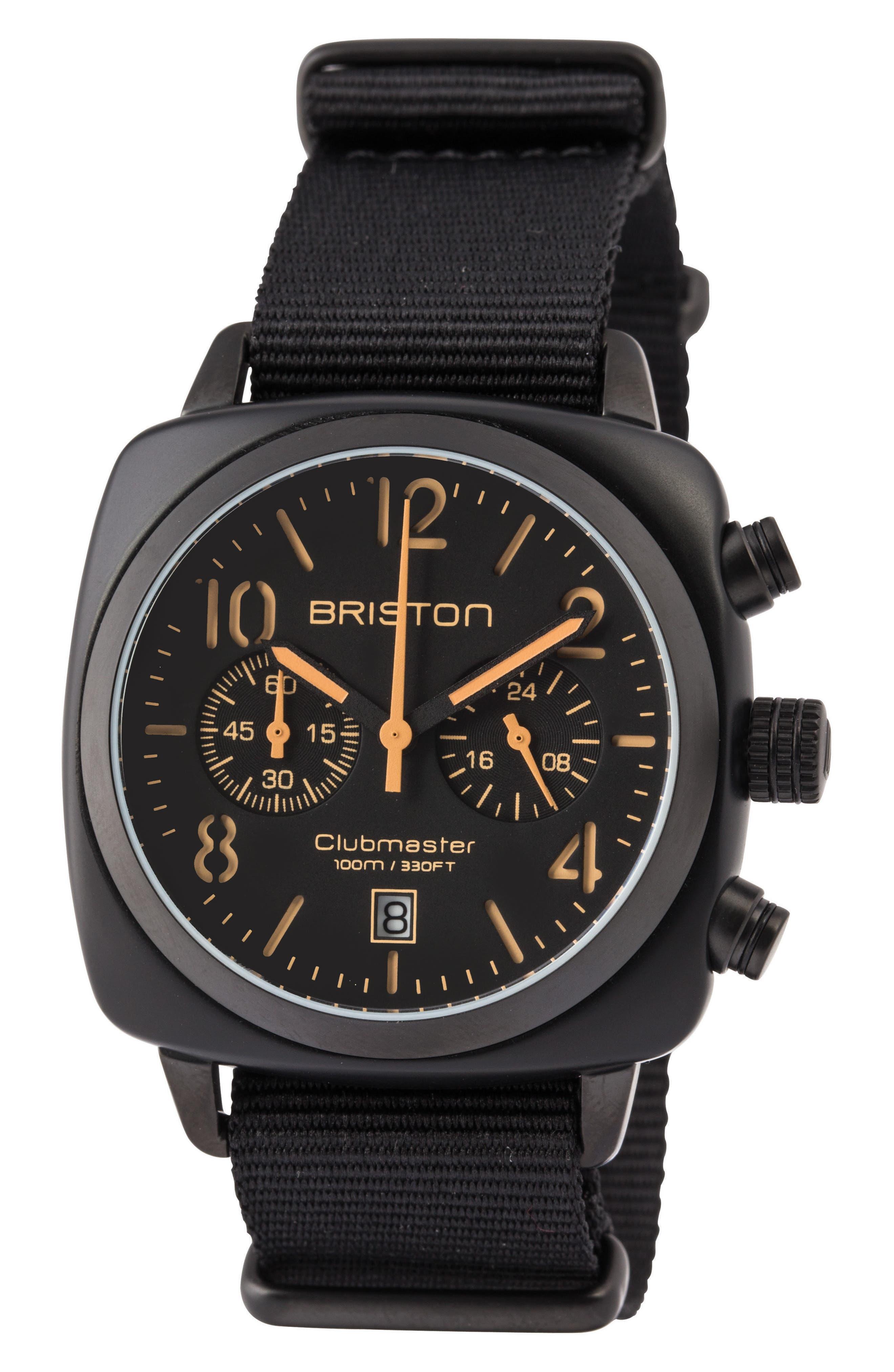 Clubmaster Classic Chronograph Nylon Strap Watch, 40mm,                             Main thumbnail 1, color,                             Black/ Brass/ Gunmetal
