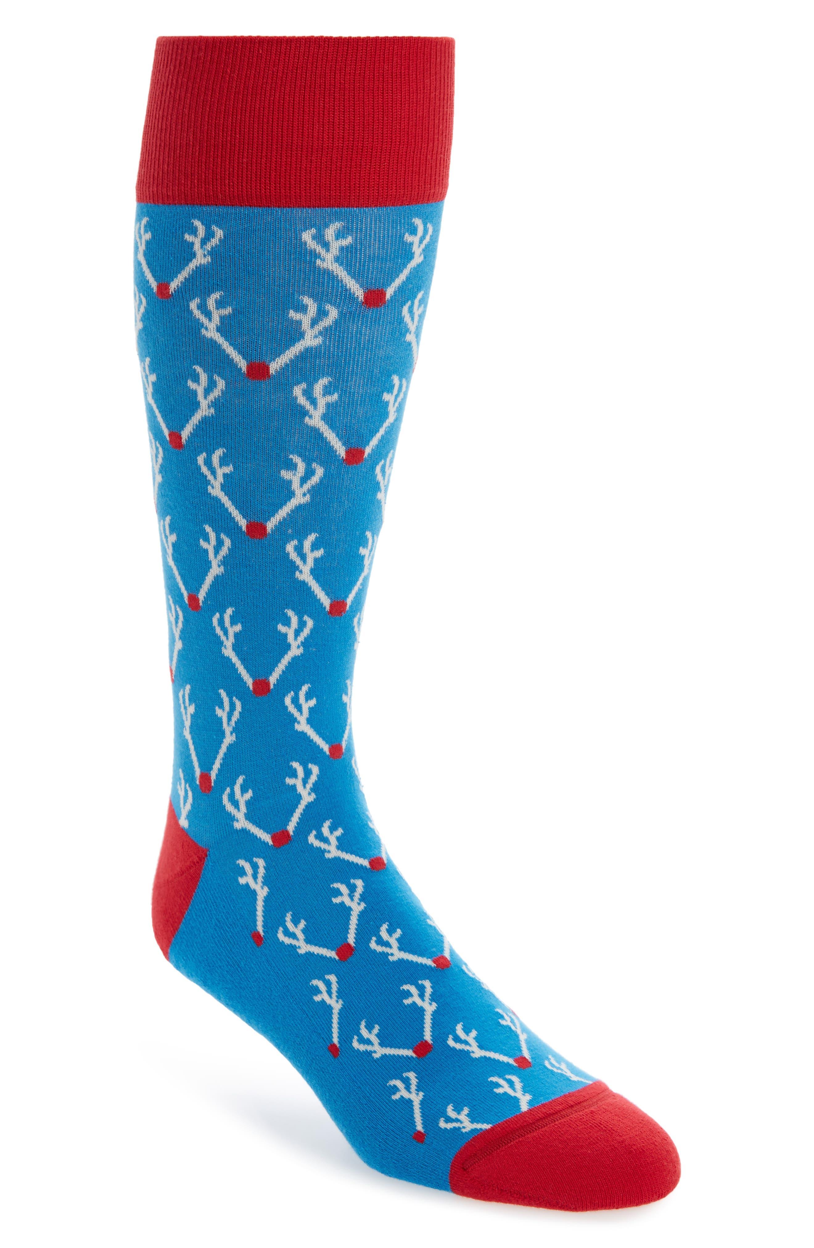 Alternate Image 1 Selected - Nordstrom Men's Shop Holiday Antlers Socks