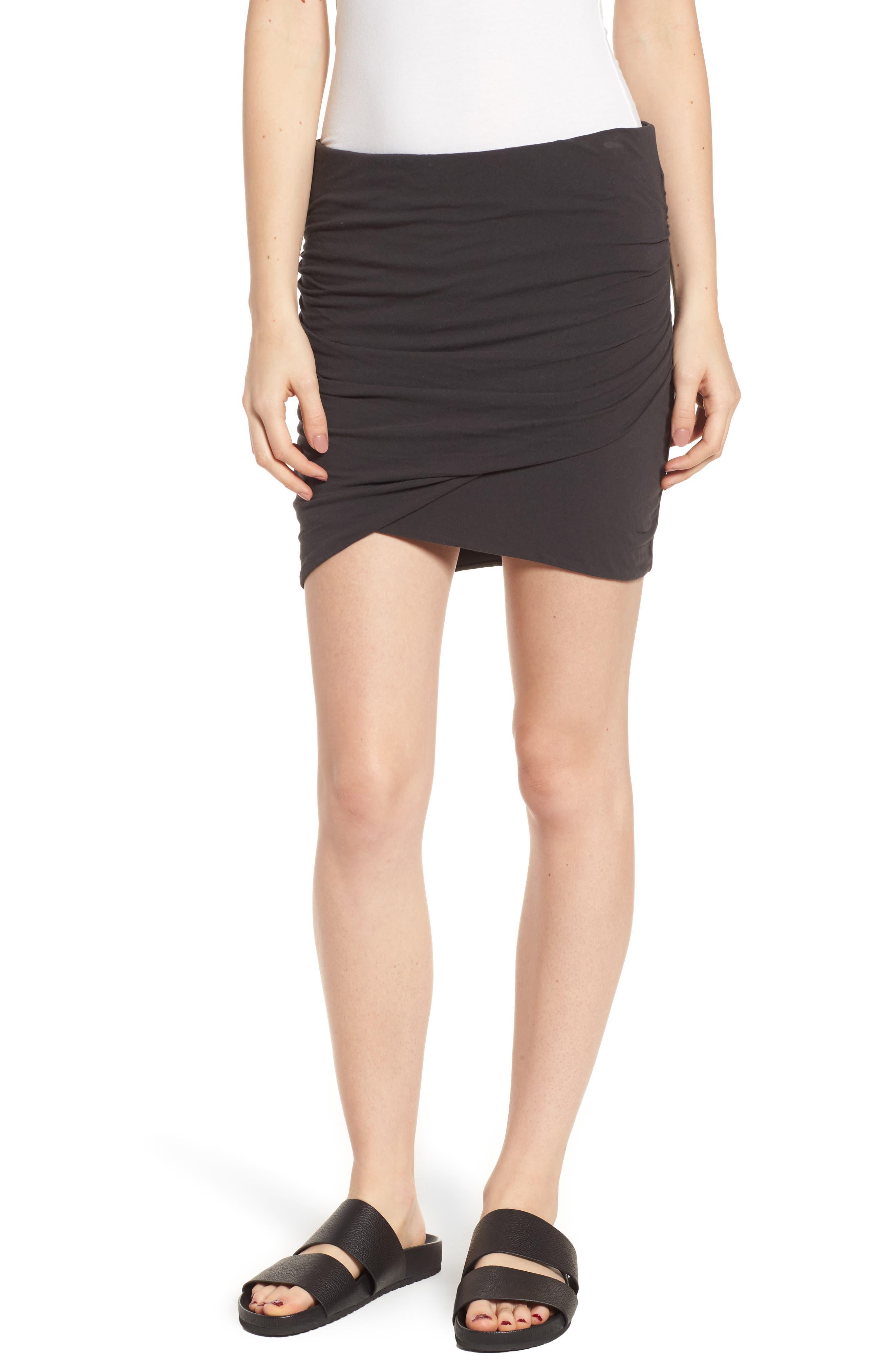 Ruched Surplice Skirt,                         Main,                         color, Carbon