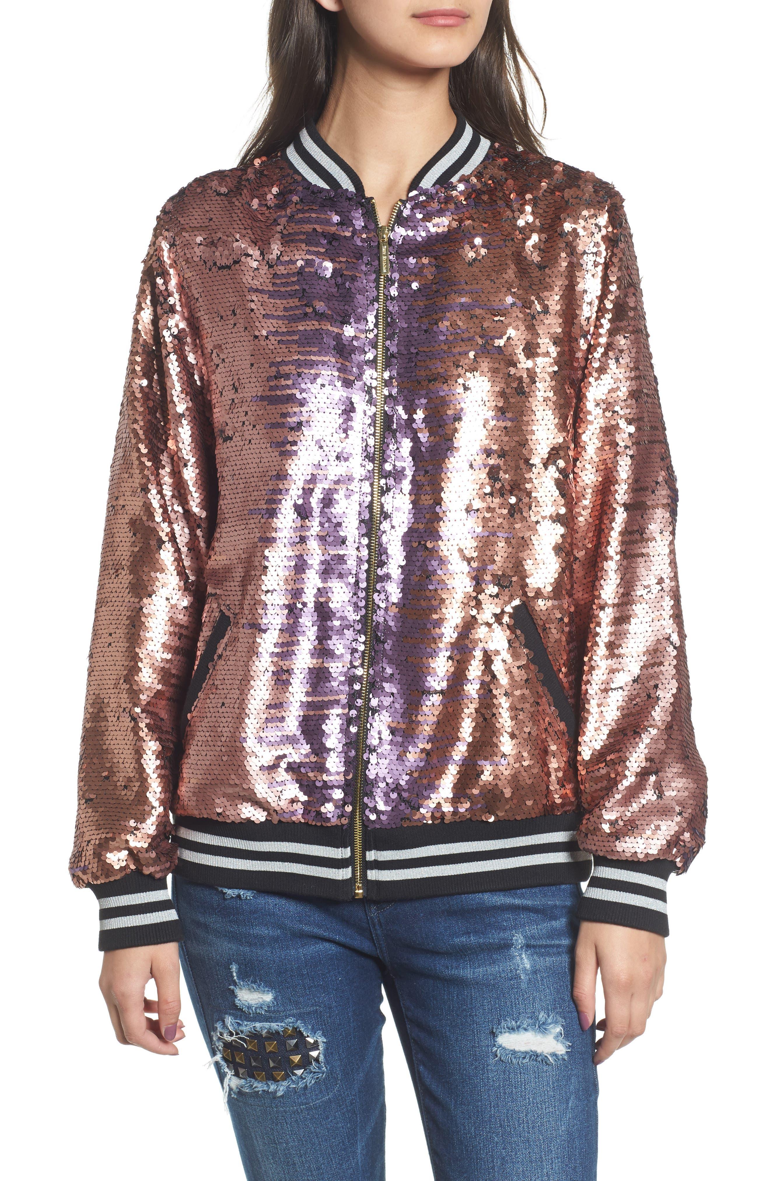 Pailette Bomber Jacket,                             Alternate thumbnail 6, color,                             Blush Purple