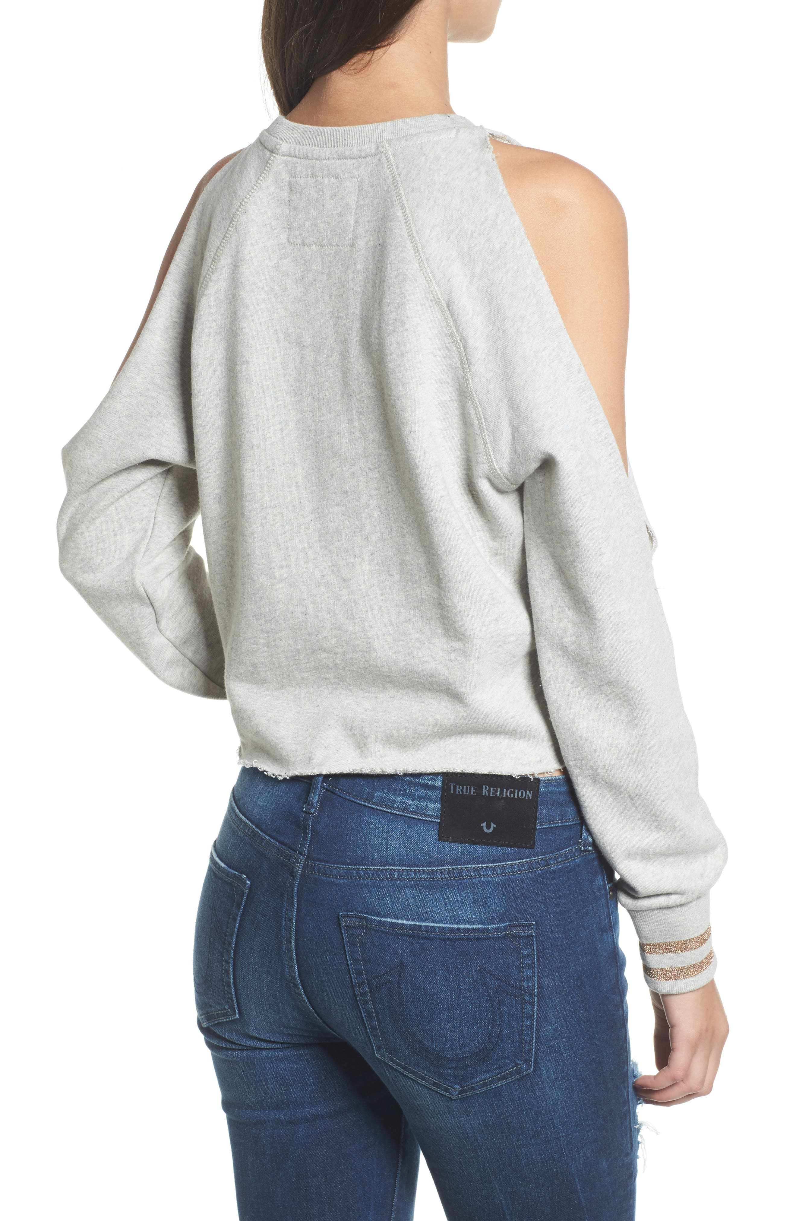Cold Shoulder Crop Sweatshirt,                             Alternate thumbnail 2, color,                             Heather Grey