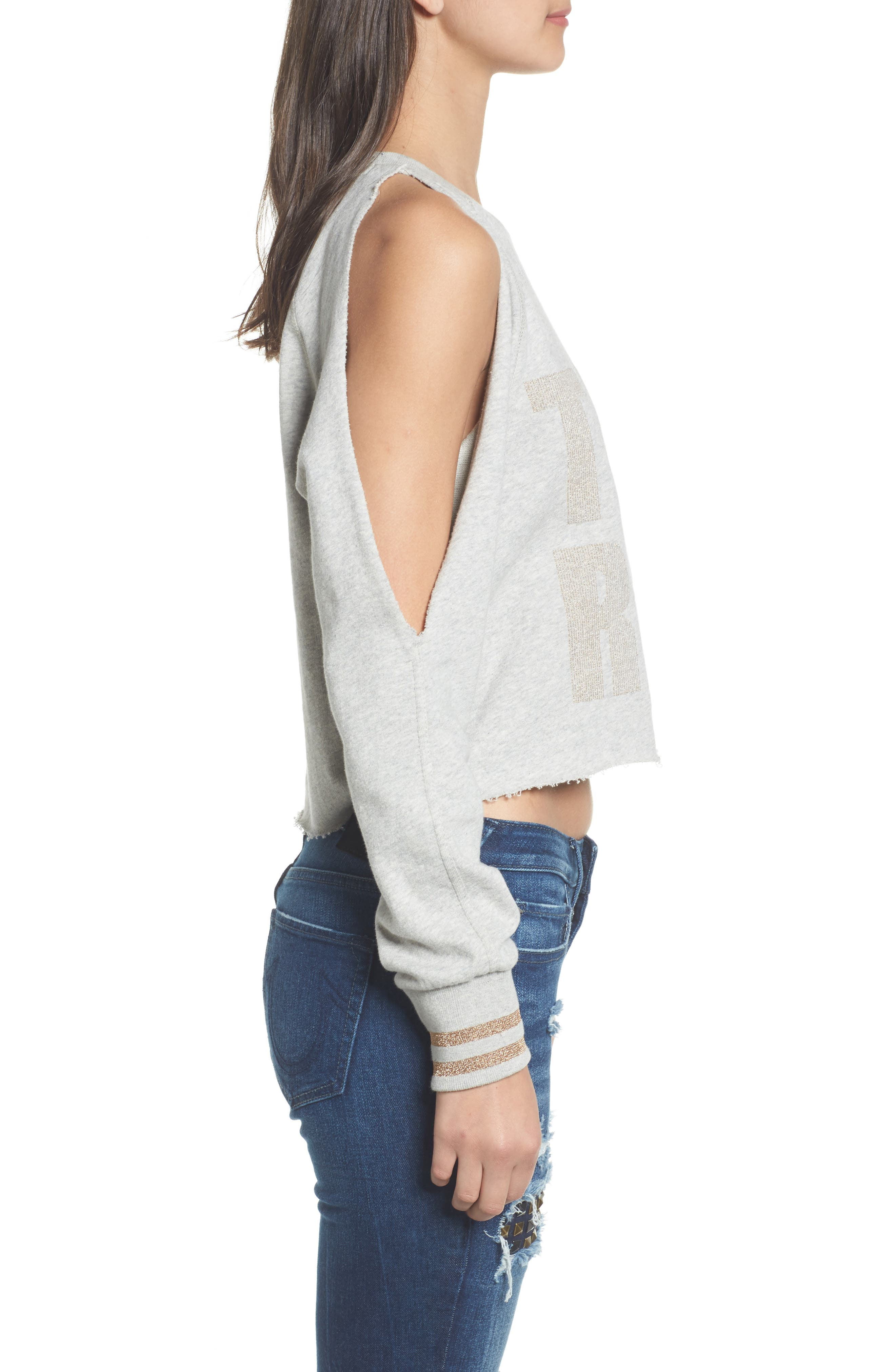 Cold Shoulder Crop Sweatshirt,                             Alternate thumbnail 3, color,                             Heather Grey