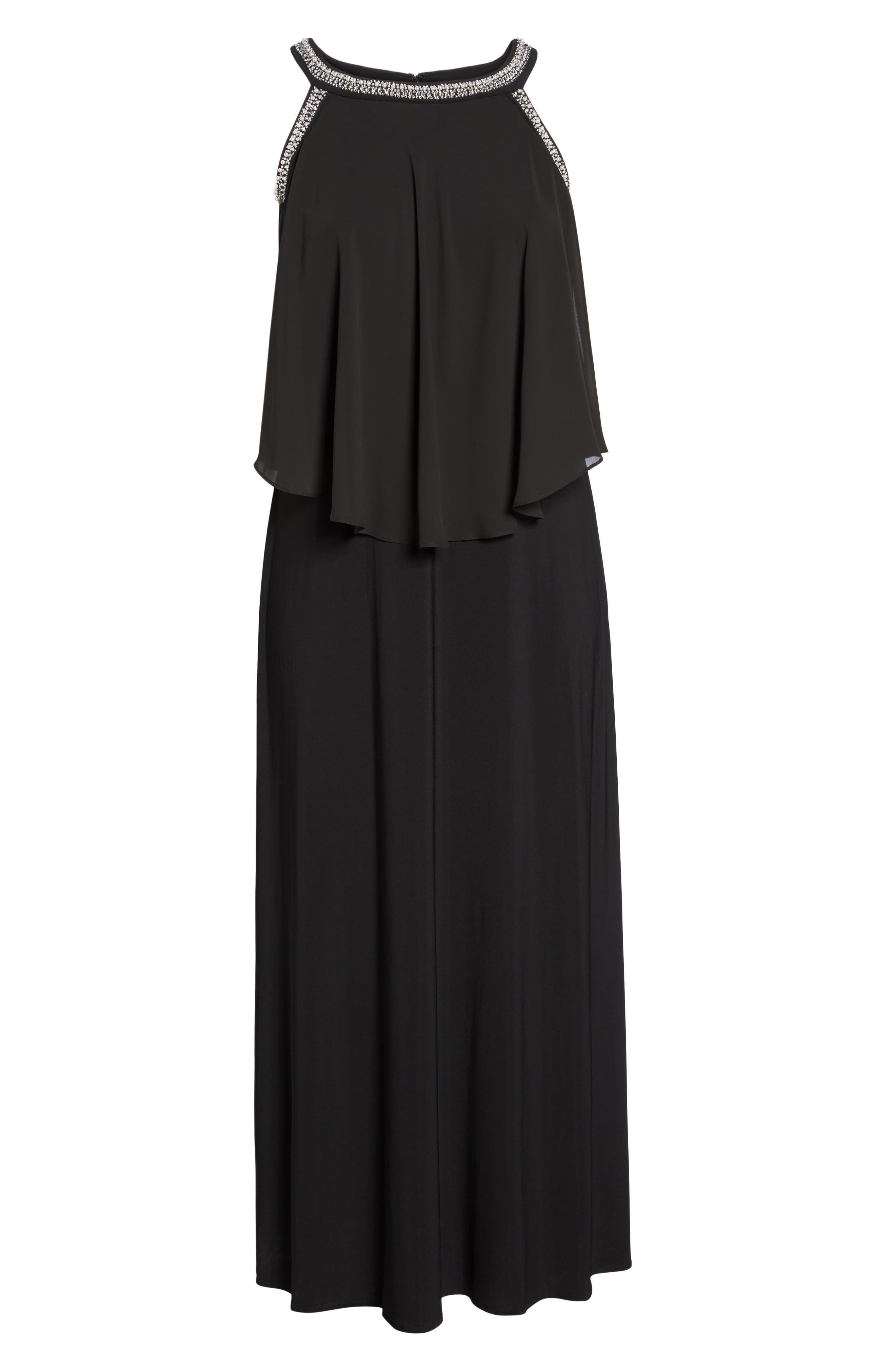 Embellished Cold Shoulder Popover Gown,                             Alternate thumbnail 6, color,                             Black