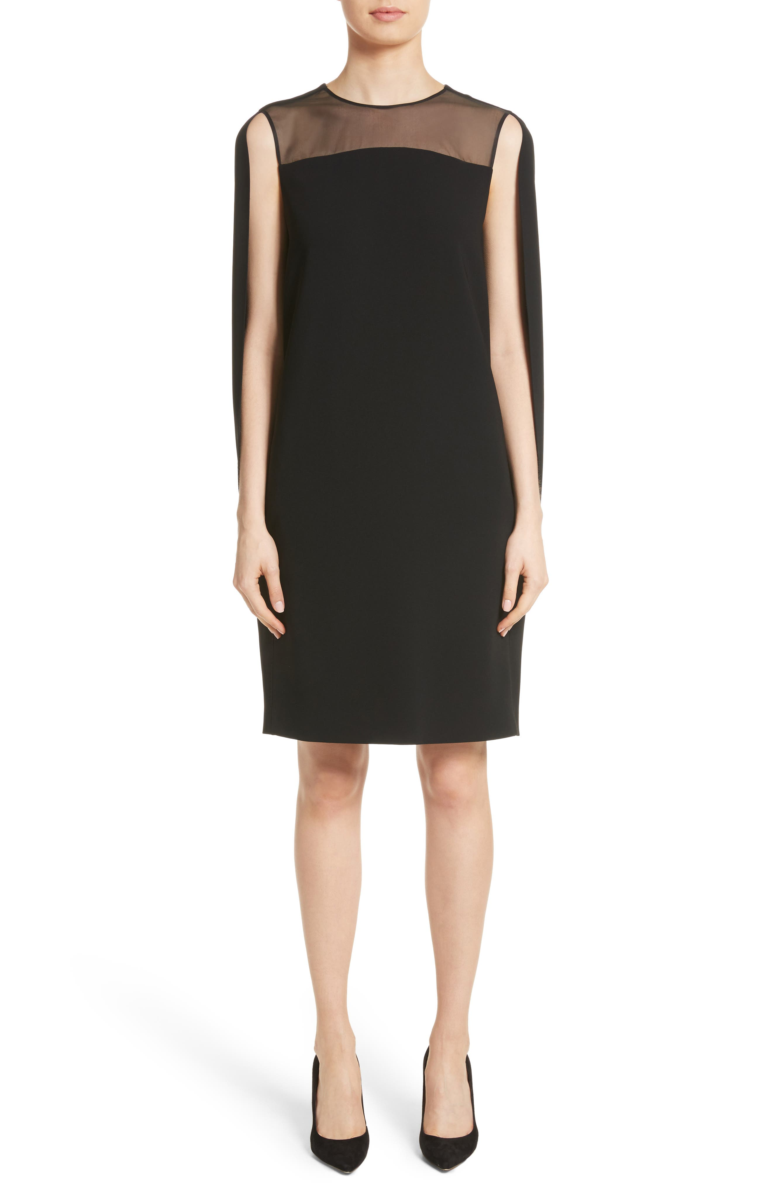 Sospiro Cape Shift Dress,                             Main thumbnail 1, color,                             Black