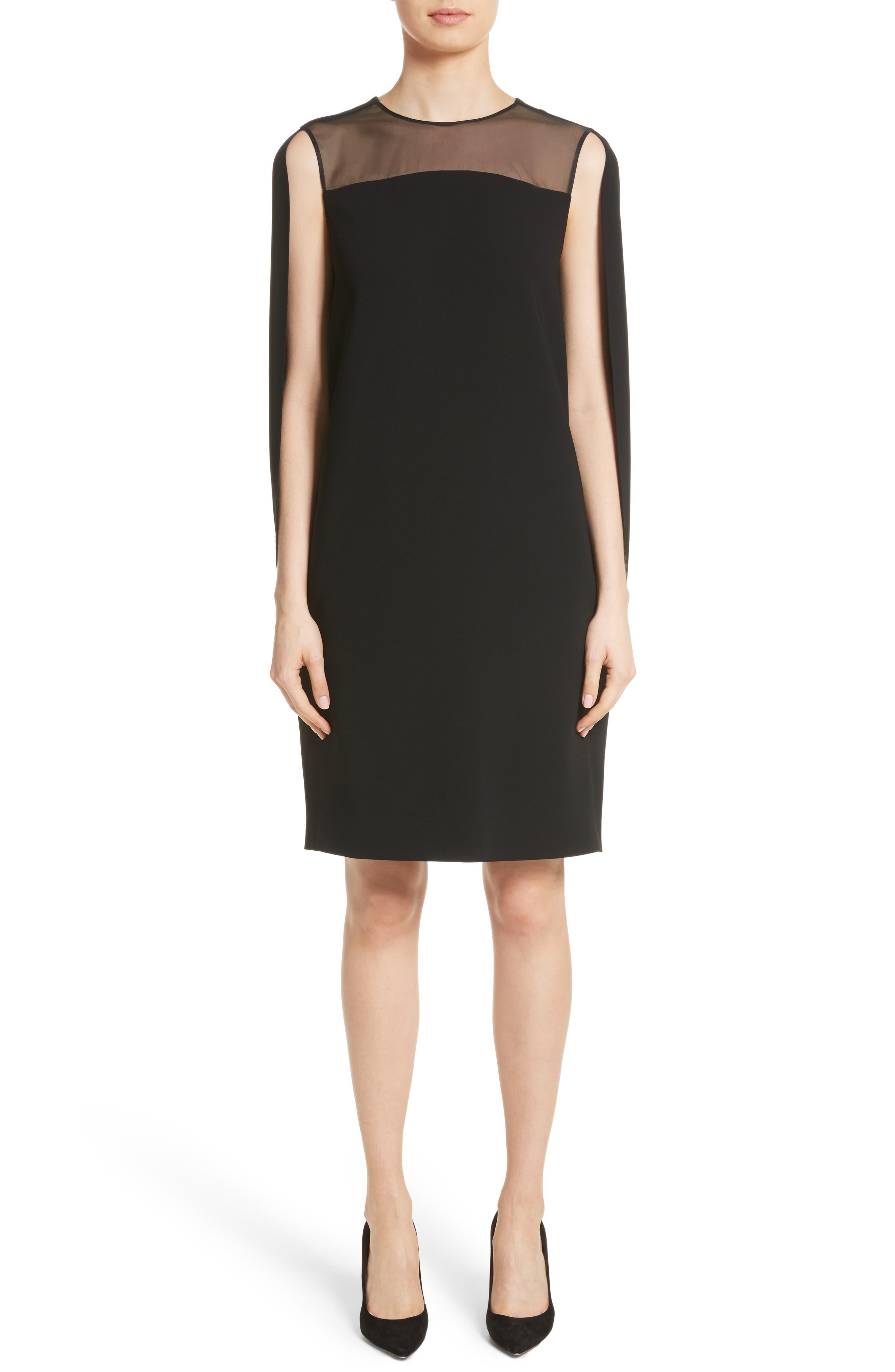 Sospiro Cape Shift Dress,                         Main,                         color, Black
