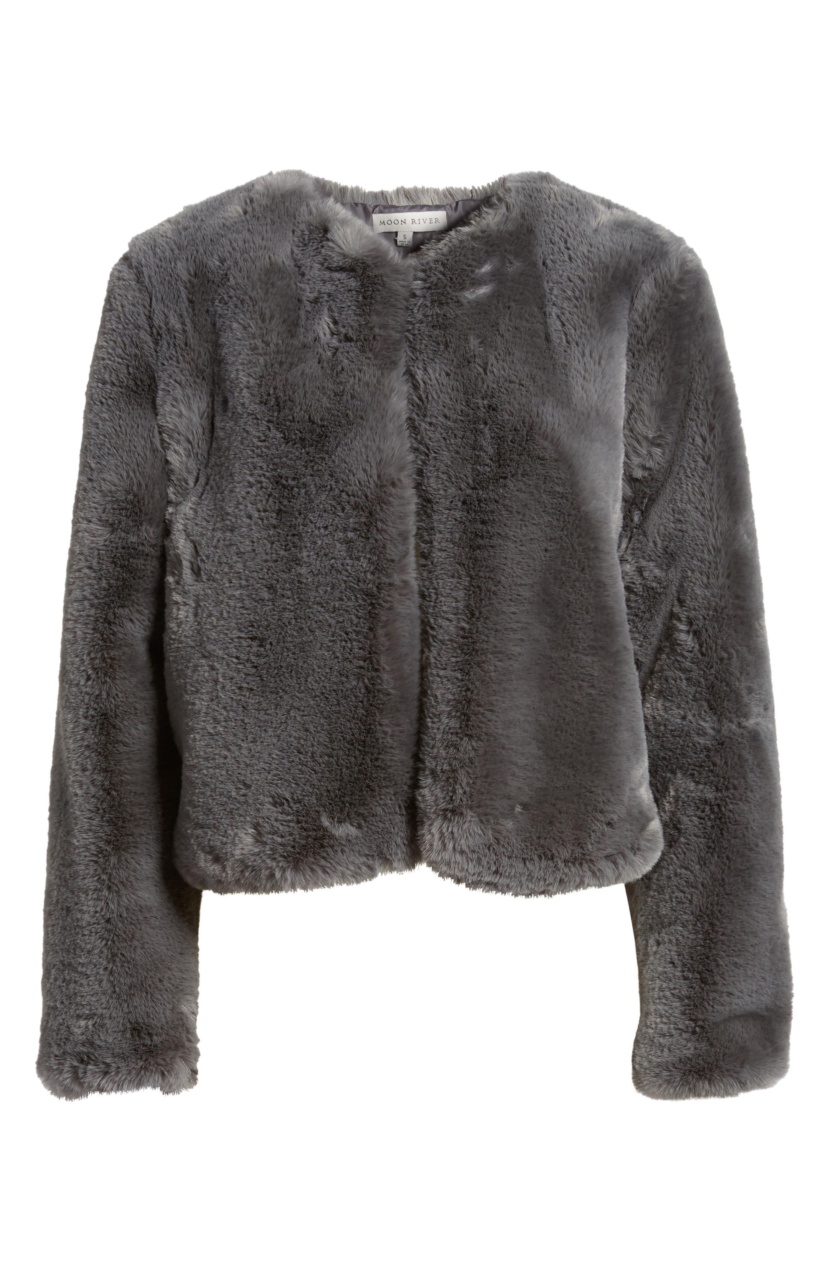 Faux Fur Jacket,                             Alternate thumbnail 6, color,                             Smoke