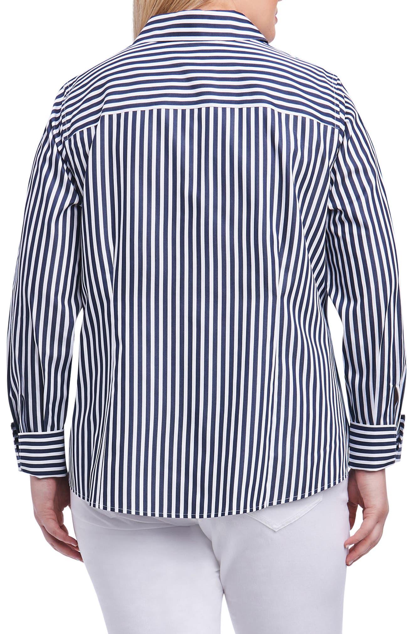 Lauren Sateen Stripe Shirt,                             Alternate thumbnail 2, color,                             Navy