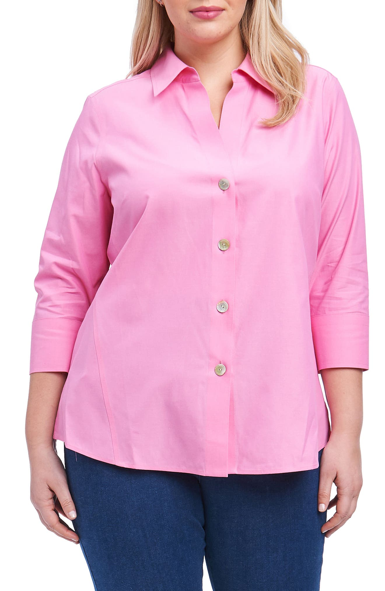 Alternate Image 1 Selected - Foxcroft 'Paige' Non-Iron Cotton Shirt (Plus Size)