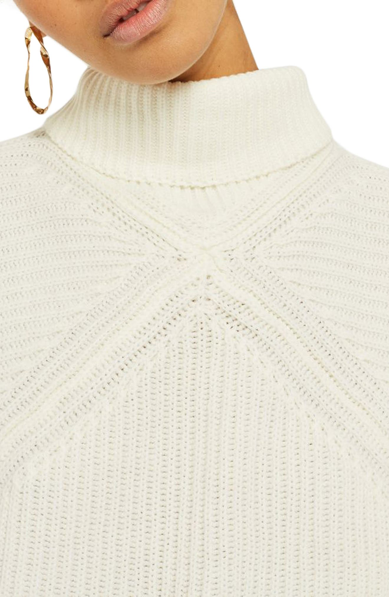 Alternate Image 4  - Topshop Diamond Stitch Turtleneck Sweater