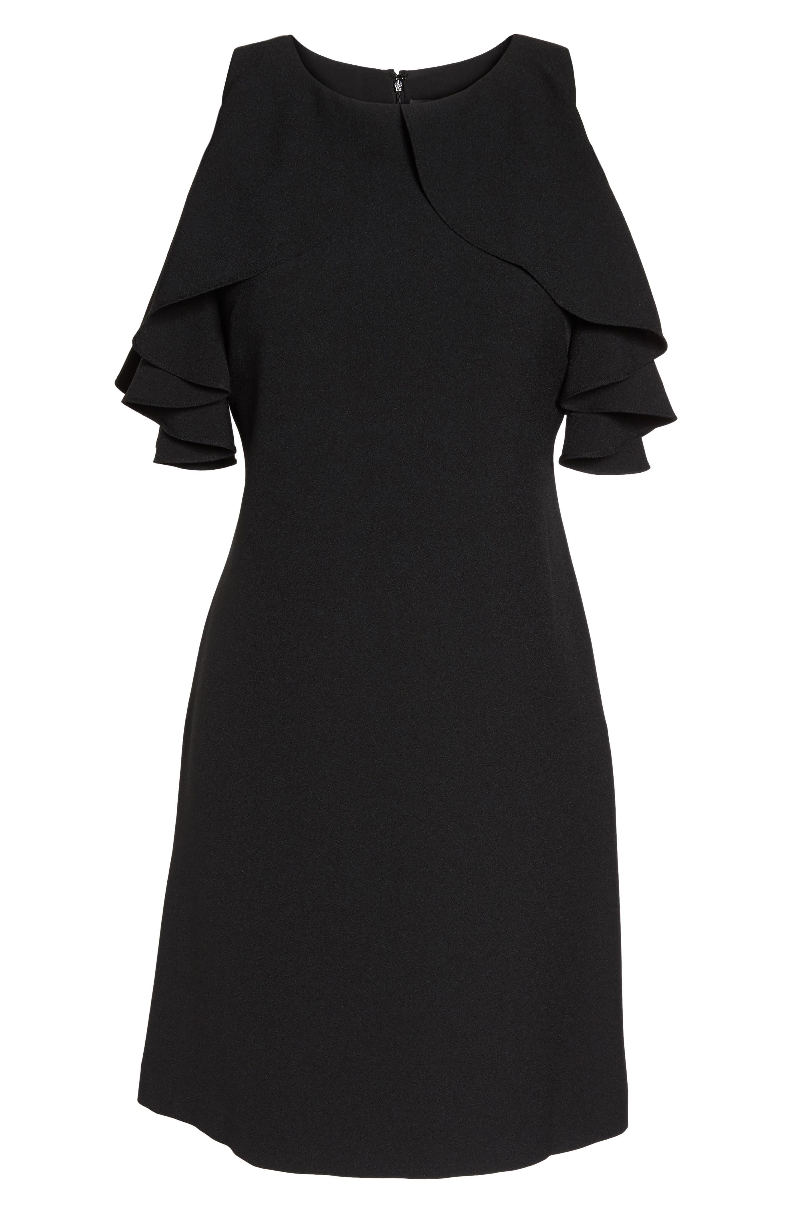 Cold Shoulder Crepe Shift Dress,                             Alternate thumbnail 6, color,                             Black